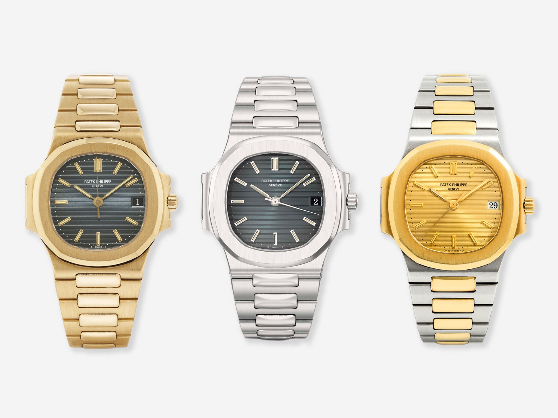 Three Patek Philippe Nautilus 3800 in yellow gold, steel and two-tone for A Collected Man London