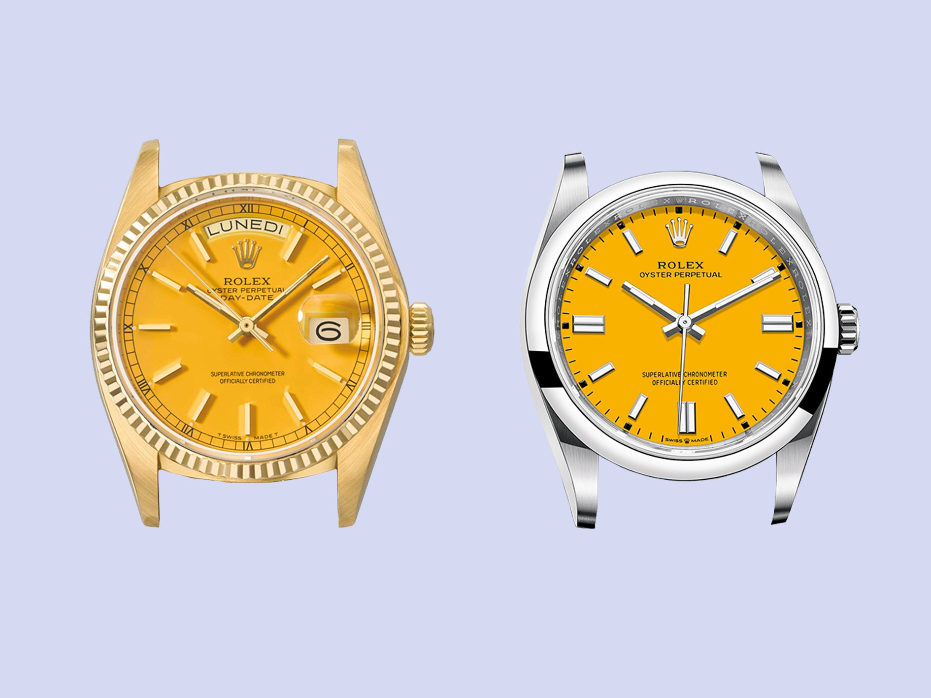 Yellow dial Rolex stella day date and a yellow dial Rolex Oyster perpetual from 2020 for A Collected Man London