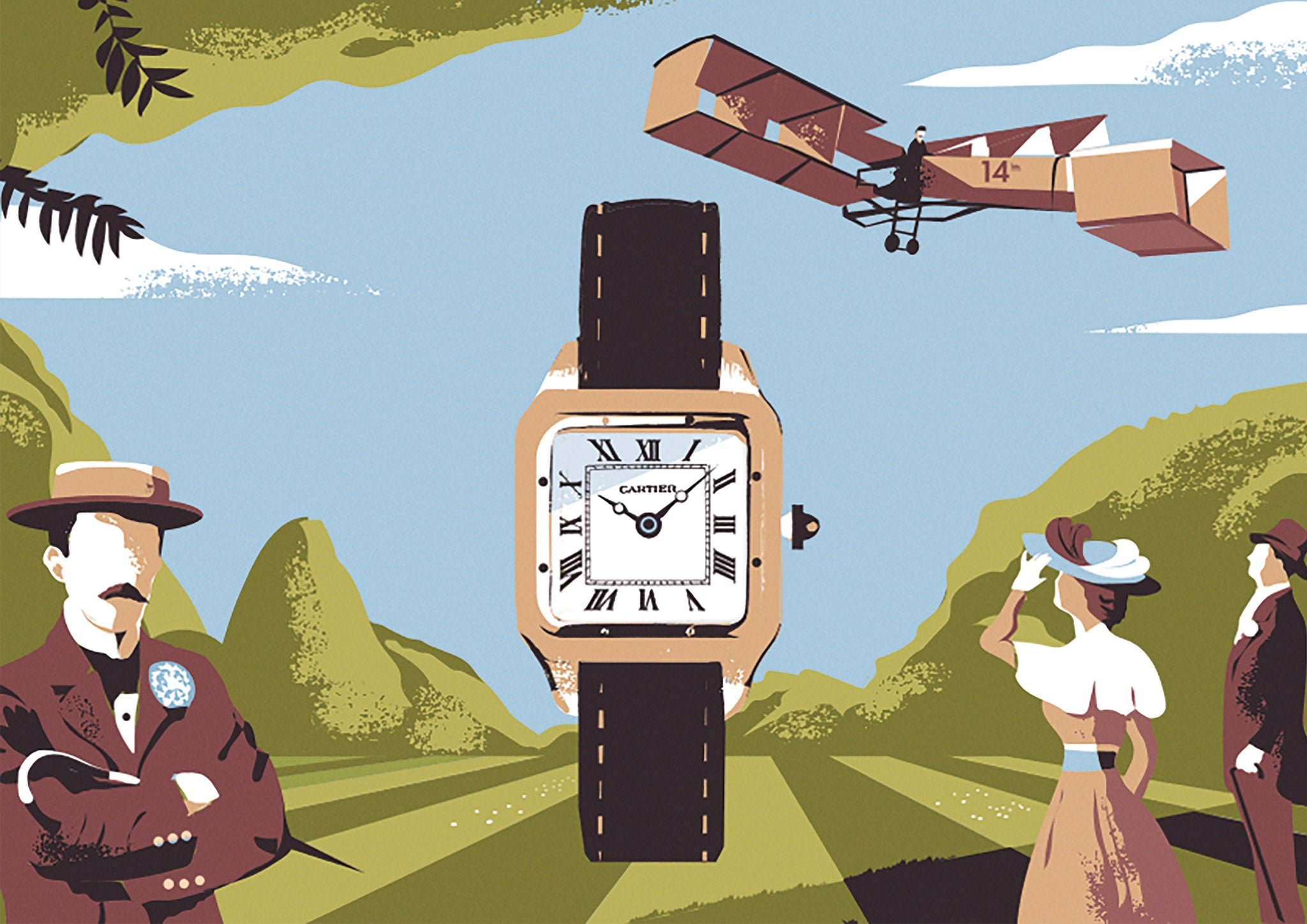 Prints Harry Illustration Alberto Santos-Dumont Cartier watch and plane