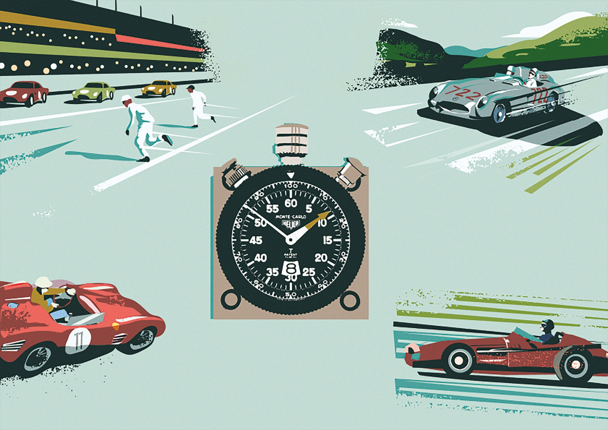 Prints Harry Illustration of Heuer dashboard timer and racing cars