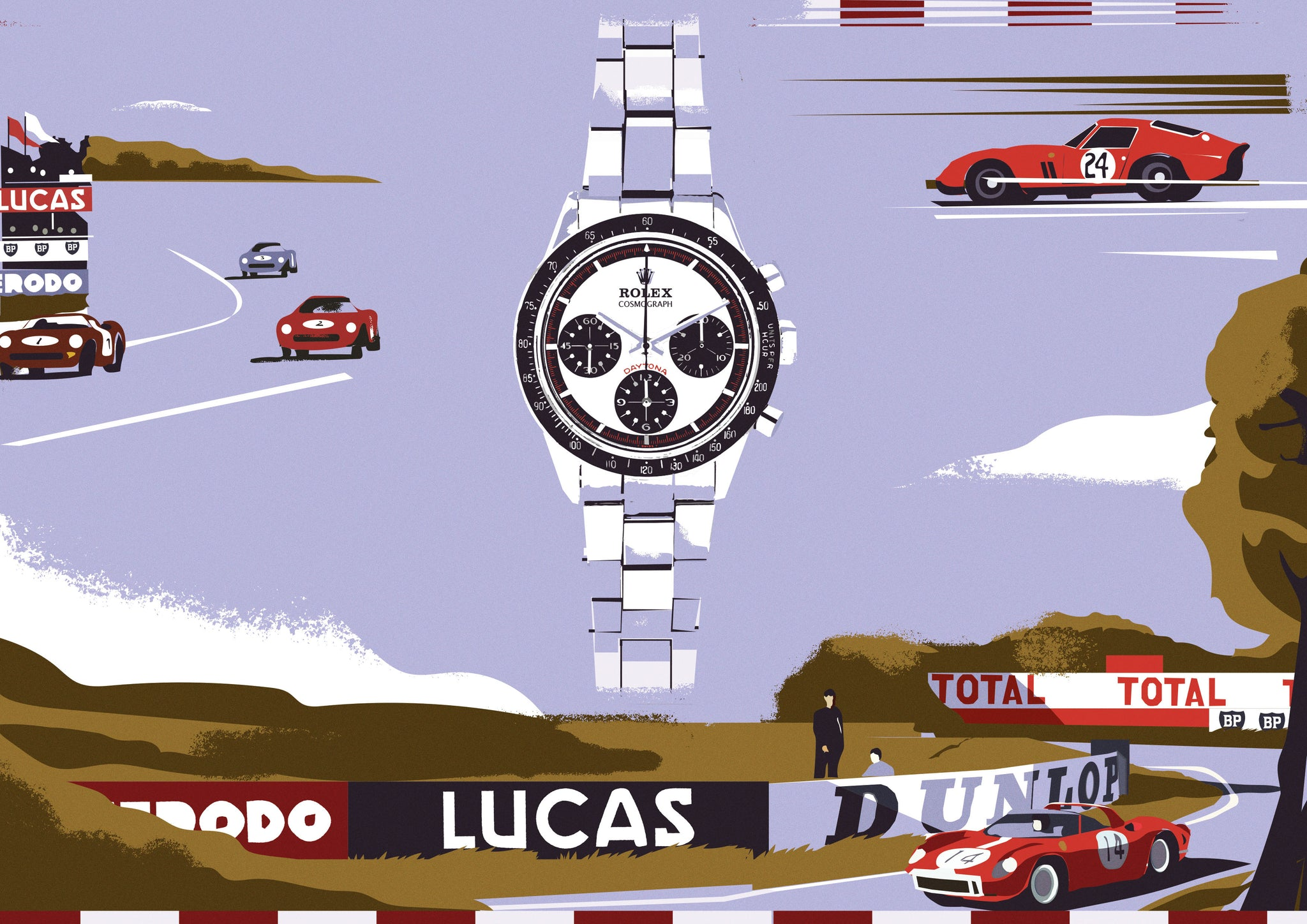 Prints Harry Rolex Daytona illustration with racing cars