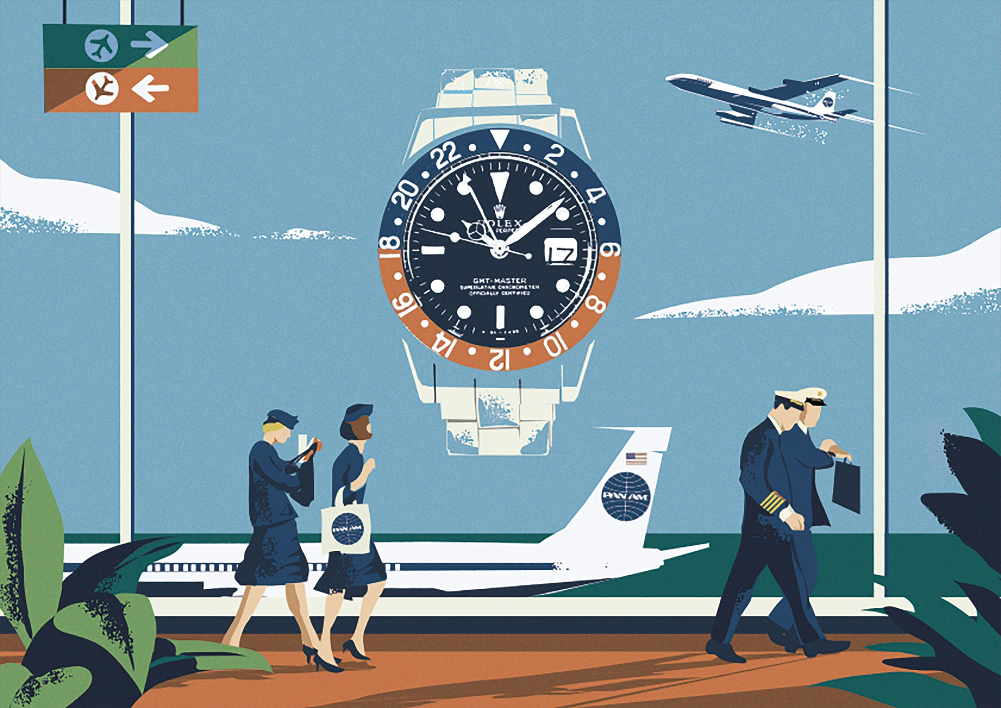 Prints Harry Illustration Rolex GMT Pam Am pilots and plain in airport