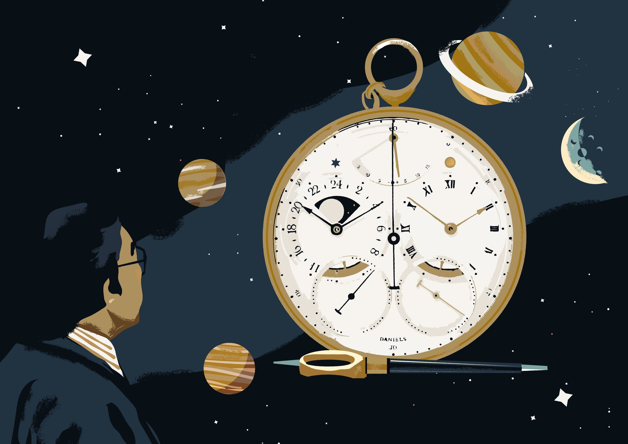 Prints Harry Illustration of George Daniels Space Traveller watch