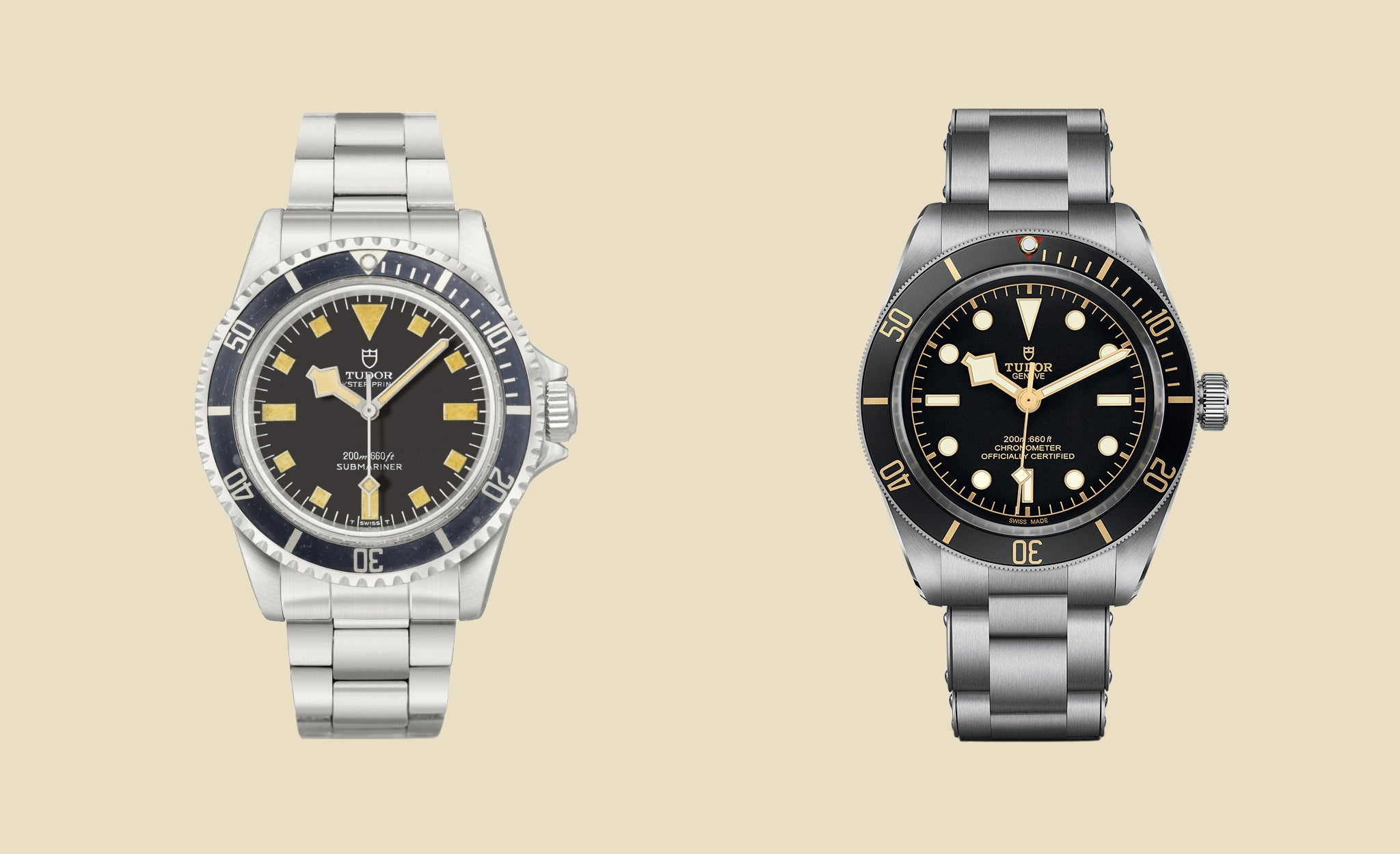 Tudor Oyster Submariner from 1980 and the Tudor Black Bay Fifty Eight for A Collected Man London