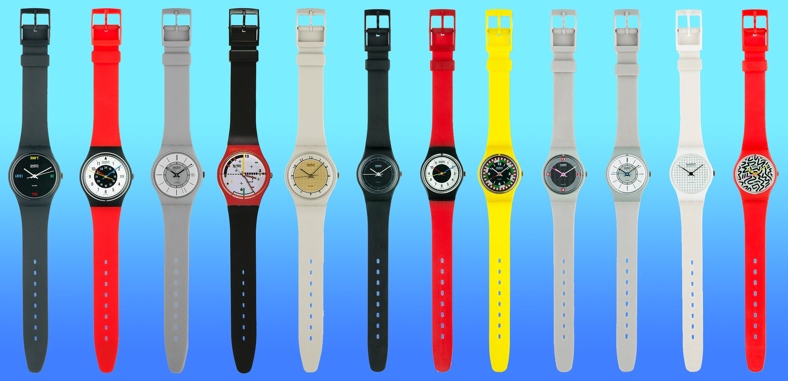 First 12 models released by Swatch in 1983 when the brand was launched for A Collected Man London