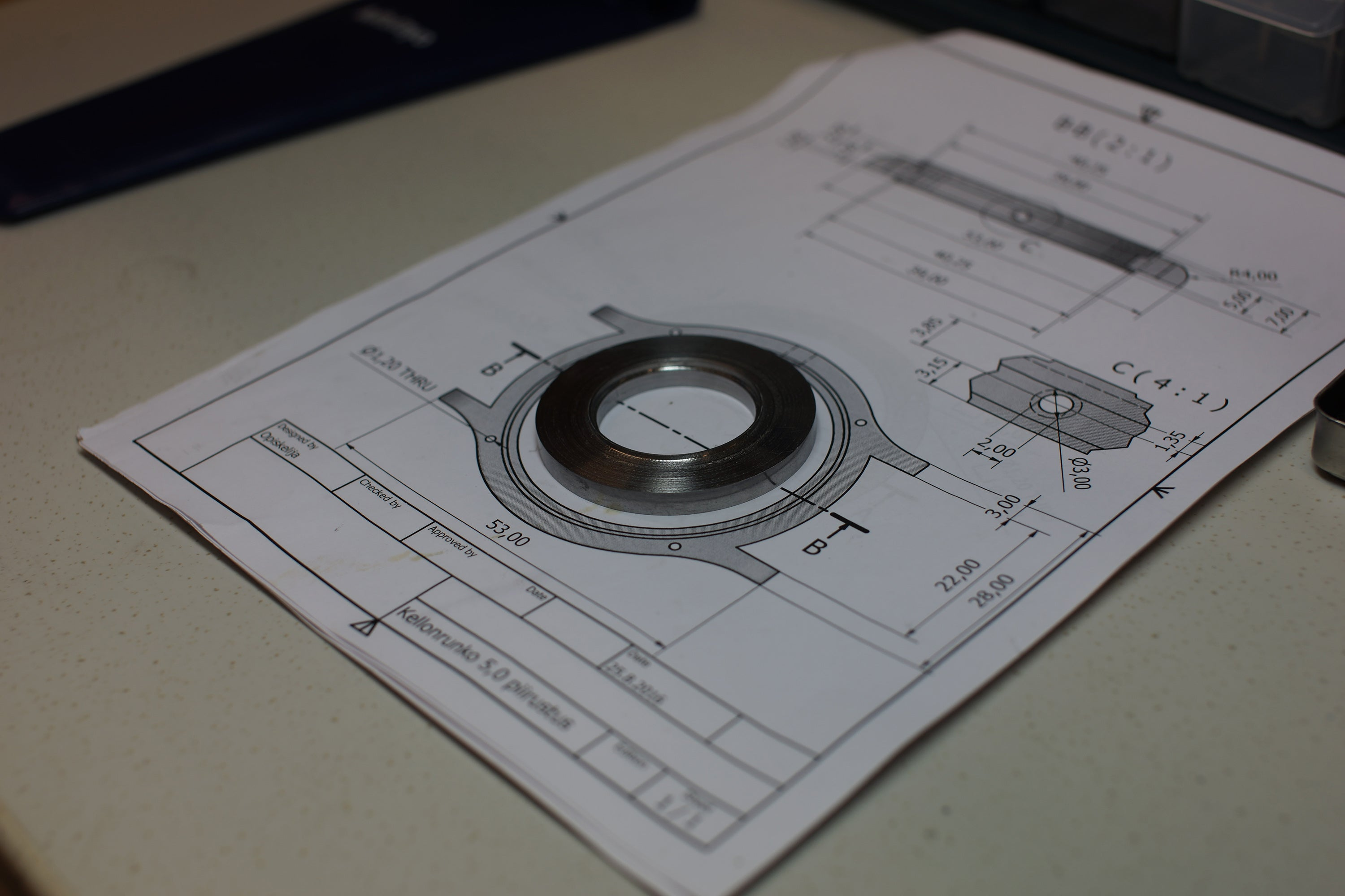 Finnish school of watchmaking technical drawings for making a case in Finnish for A Collected Man London