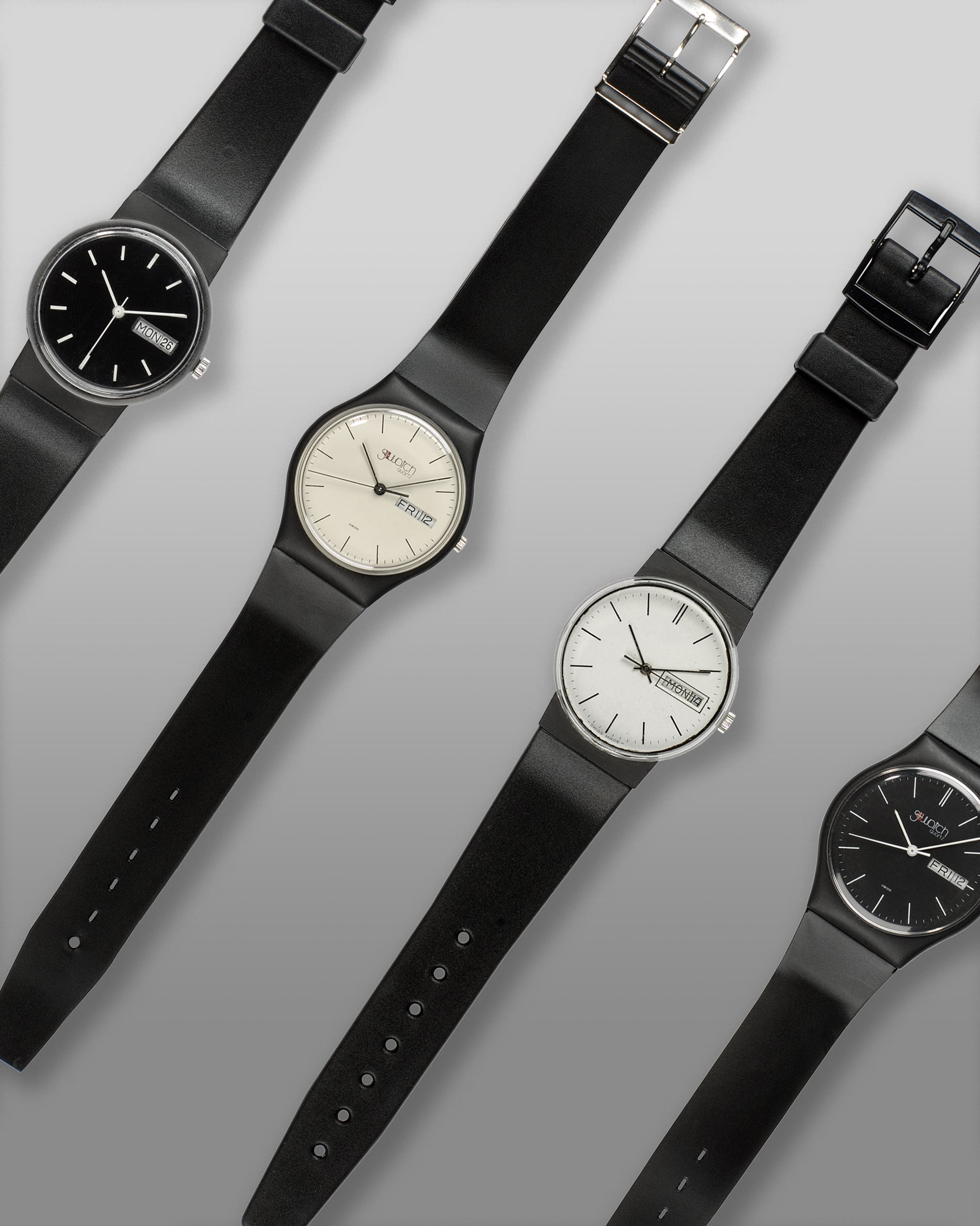 A selection of the prototypes Swatch made in 1981 to test case and dial design for A Collected Man London
