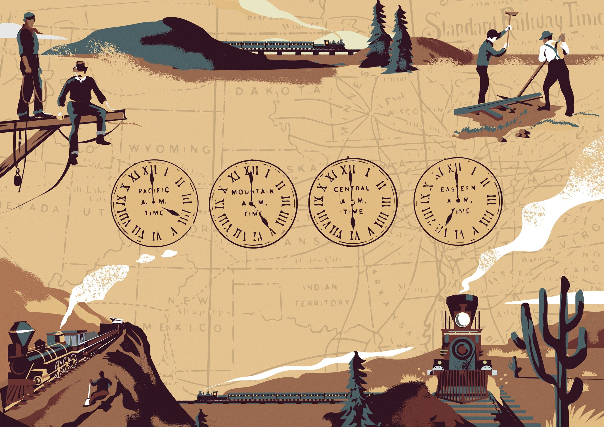 Prints Harry illustration of time zones and railway construction
