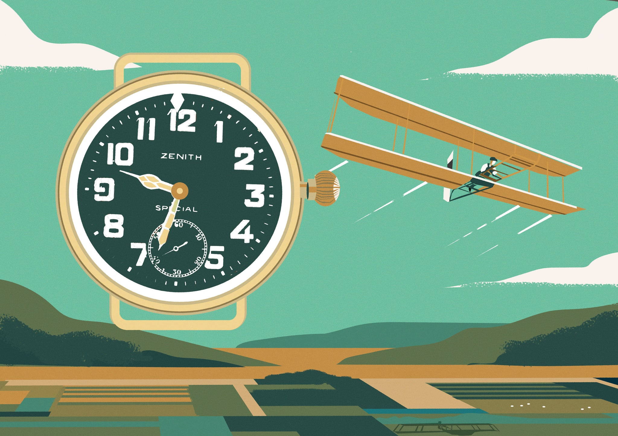 Prints Harry Illustration with Wright brother's plane and early Zenith pilot's watch