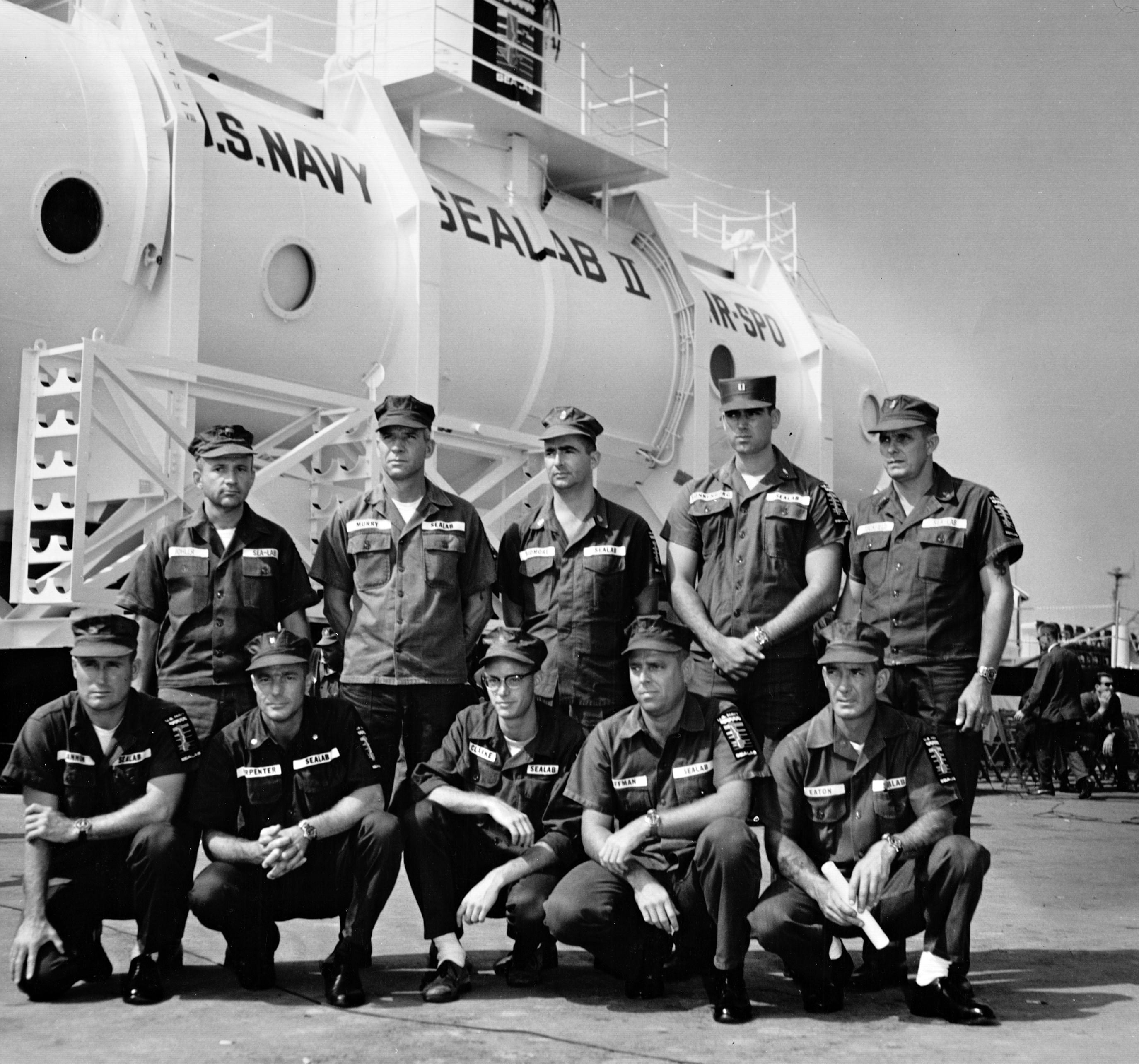 SEALAB II team before boarding all sporting their Rolex dive watches for A Collected Man London