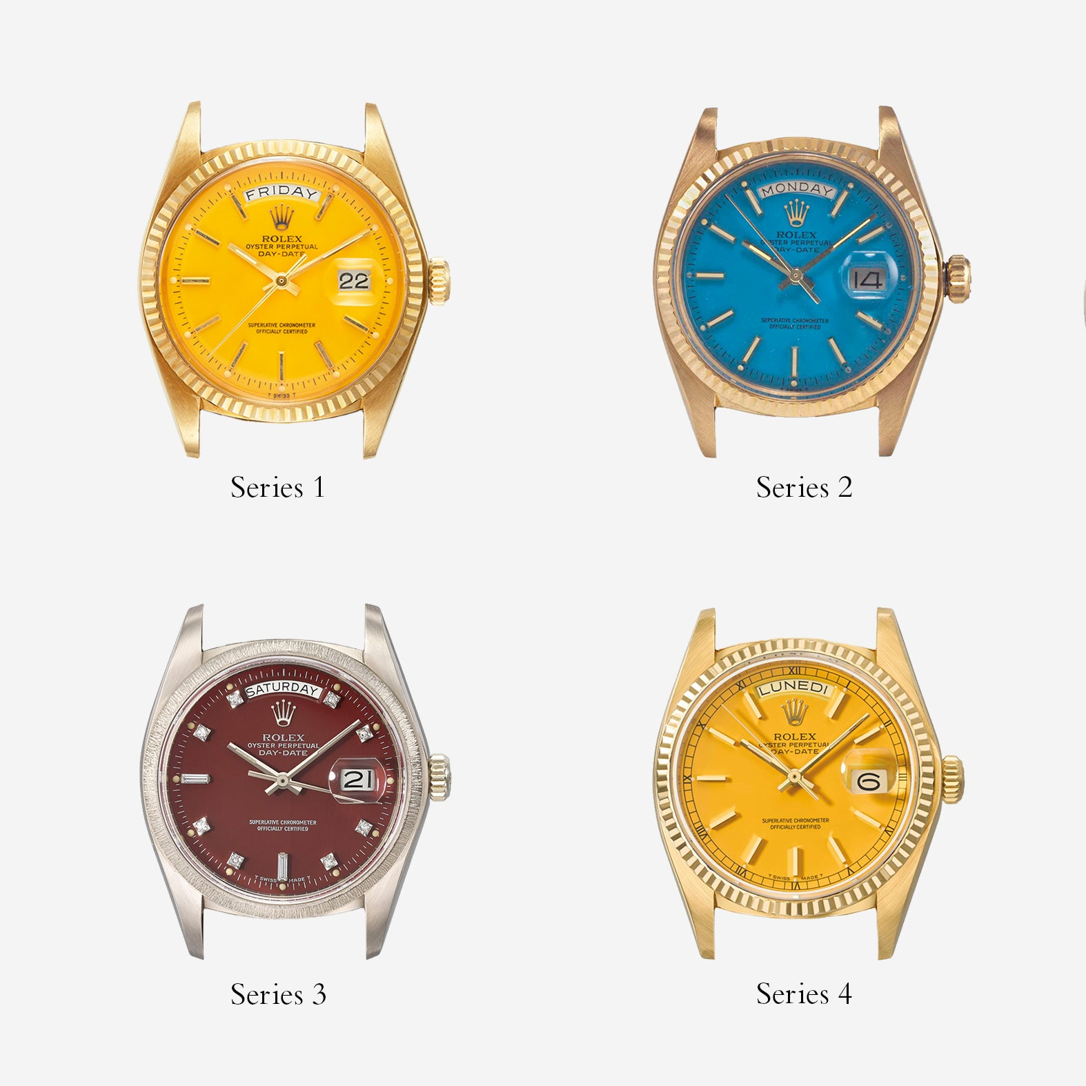 A grid showing the four series of Rolex Stella dials as they appeared on Day Dates for A Collected Man London