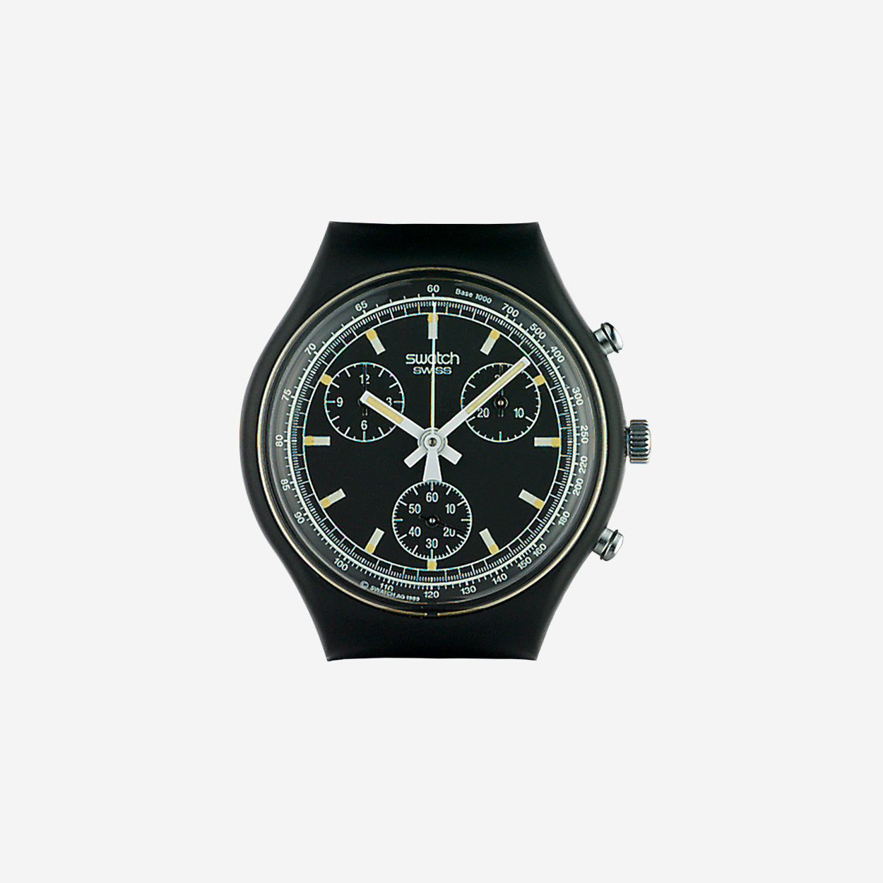Swatch Black Friday chronograph one of the first chronographs released by Swatch in 1990 for A Collected Man London