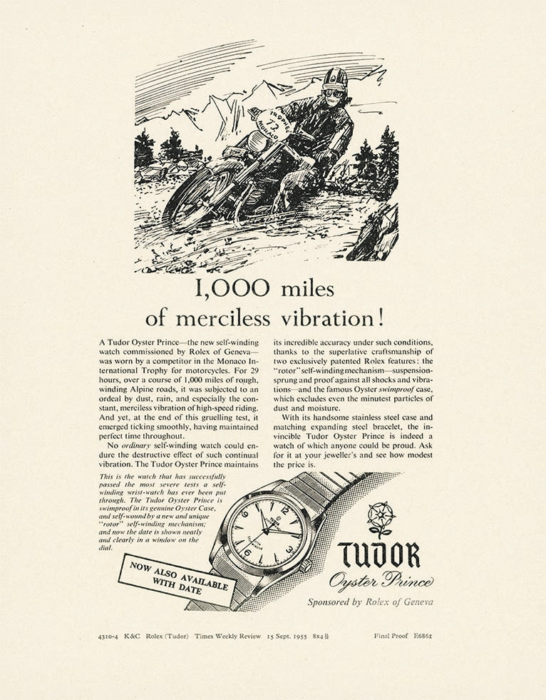 Tudor print advertisement from 1955 for A Collected Man London