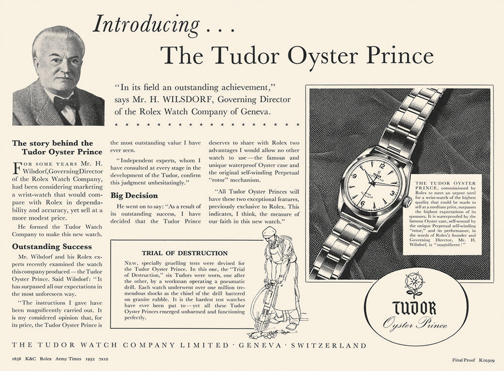 Tudor advert with Hans Wilsdorf for A Collected Man London
