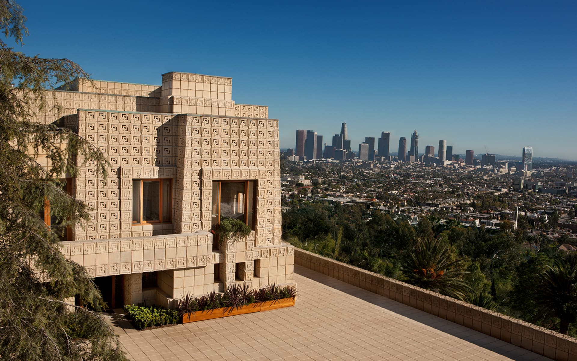 Ennis House designed by Frank Lloyd Wright overlooking Los Angeles