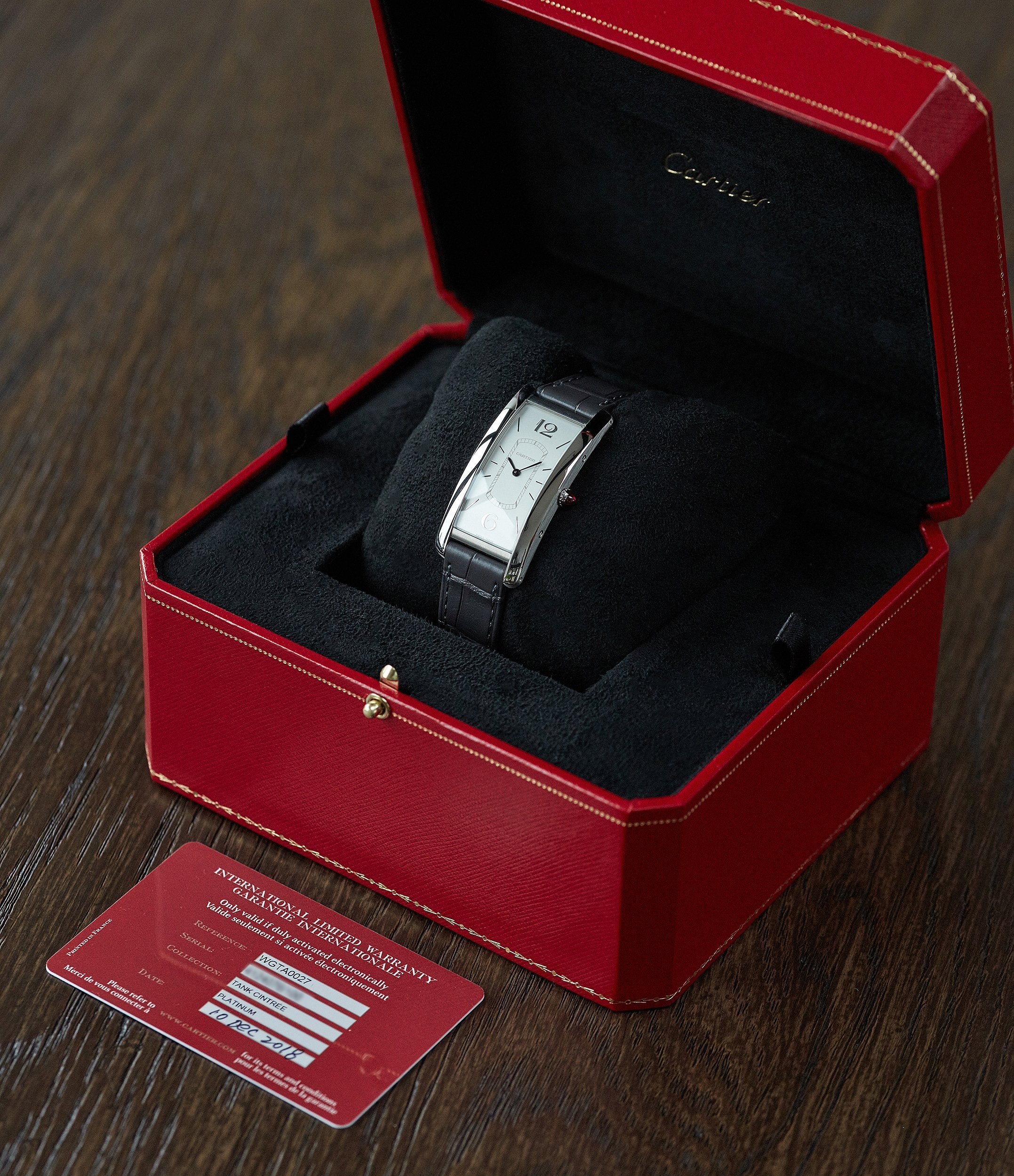 full set pre-owned Cartier Tank Cintrée platinum Limited Edition time-only dress watch for sale online A Collected Man London UK specialist rare watches