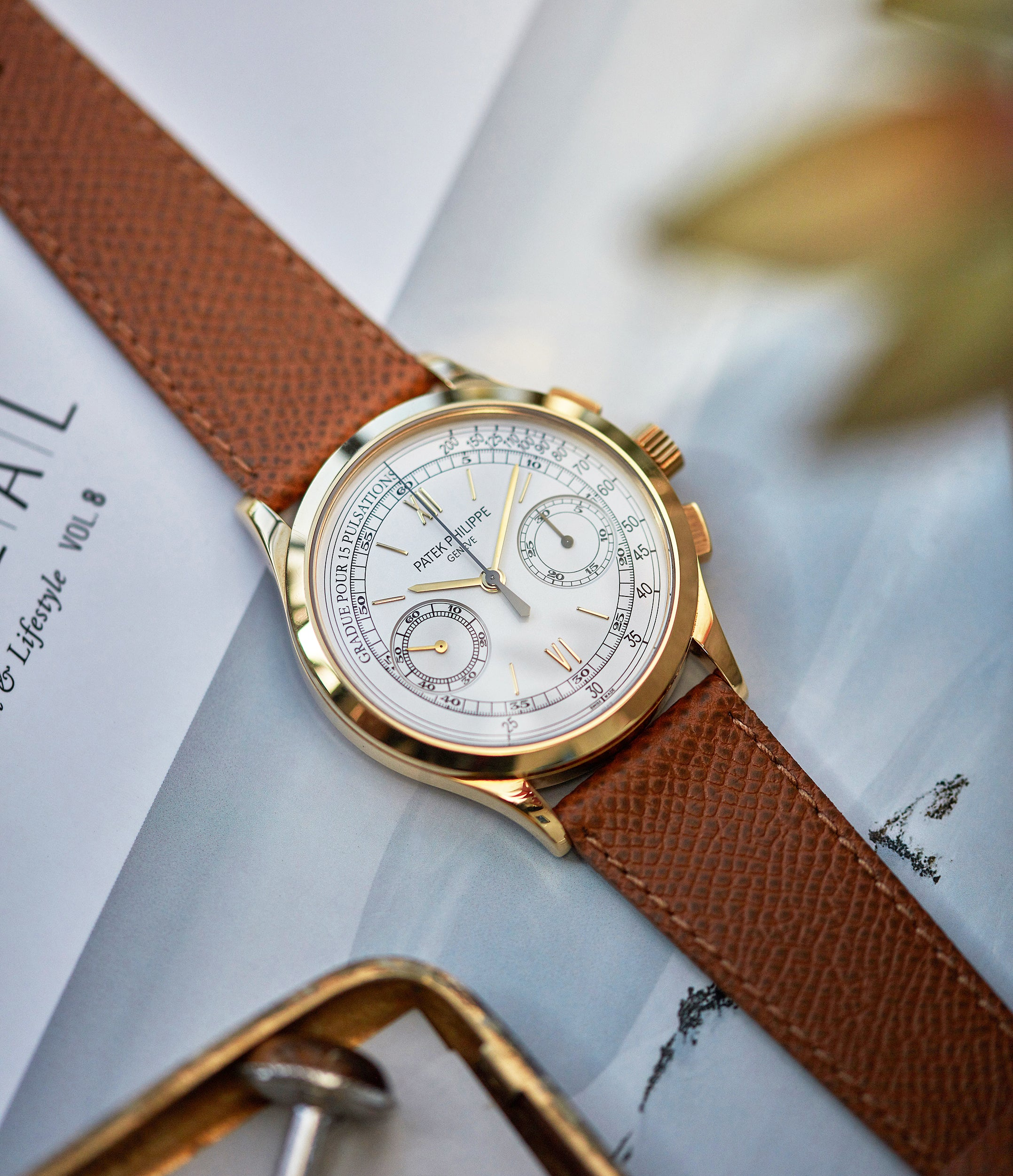 hands-on with Patek Philippe 5170J-001 Chronograph yellow gold dress pre-owned watch for sale online at A Collected Man London UK specialist of rare watches