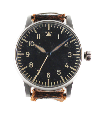 A. Lange & Söhne B-uhr World War II Pilot's Navigator's rare watch  steel manual-winding vintage pre-owned watch with black dial and original brown strap