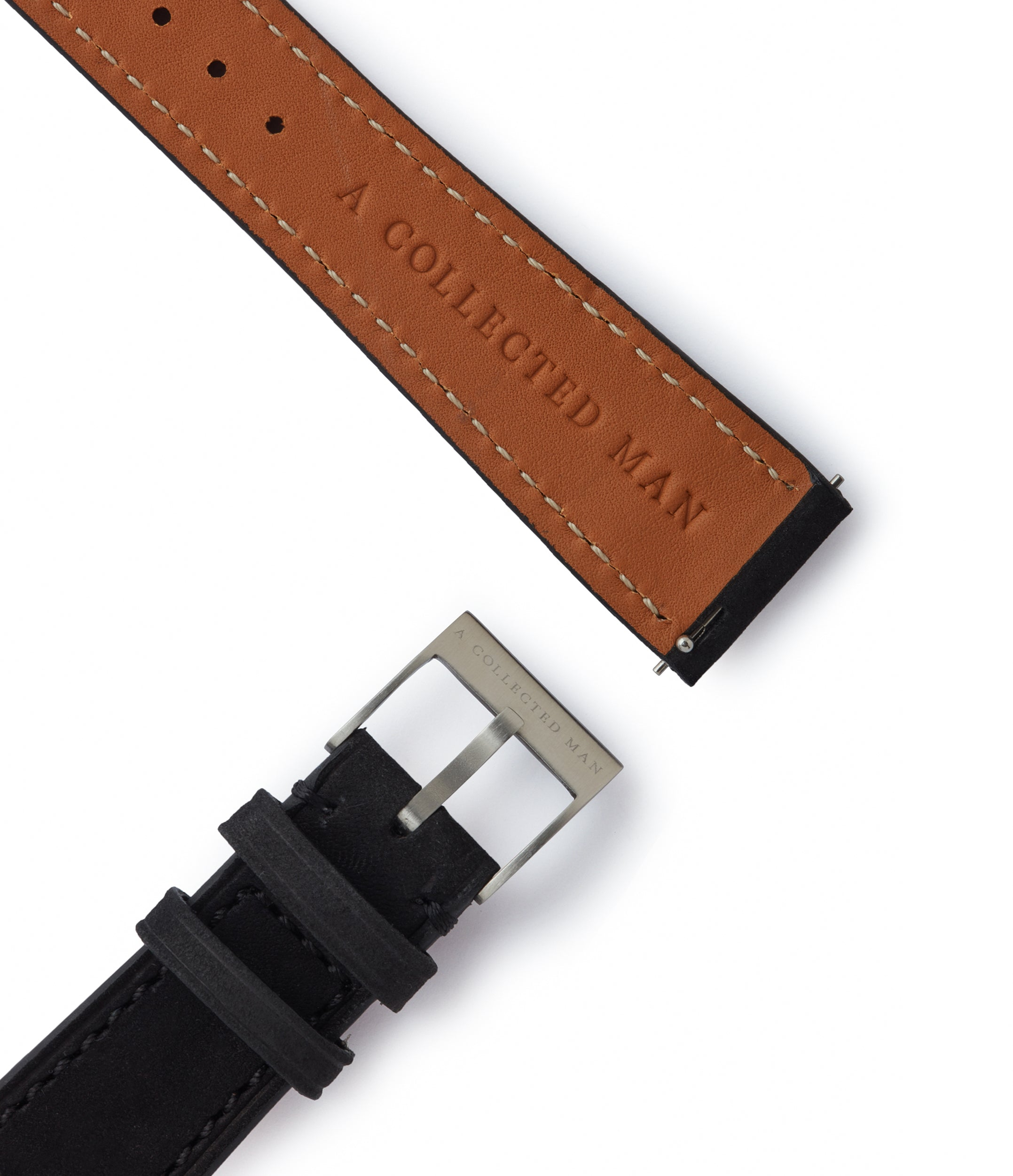 black nubuck watch strap quick-release springbars Sofia  Molequin for sale order online at A Collected Man London