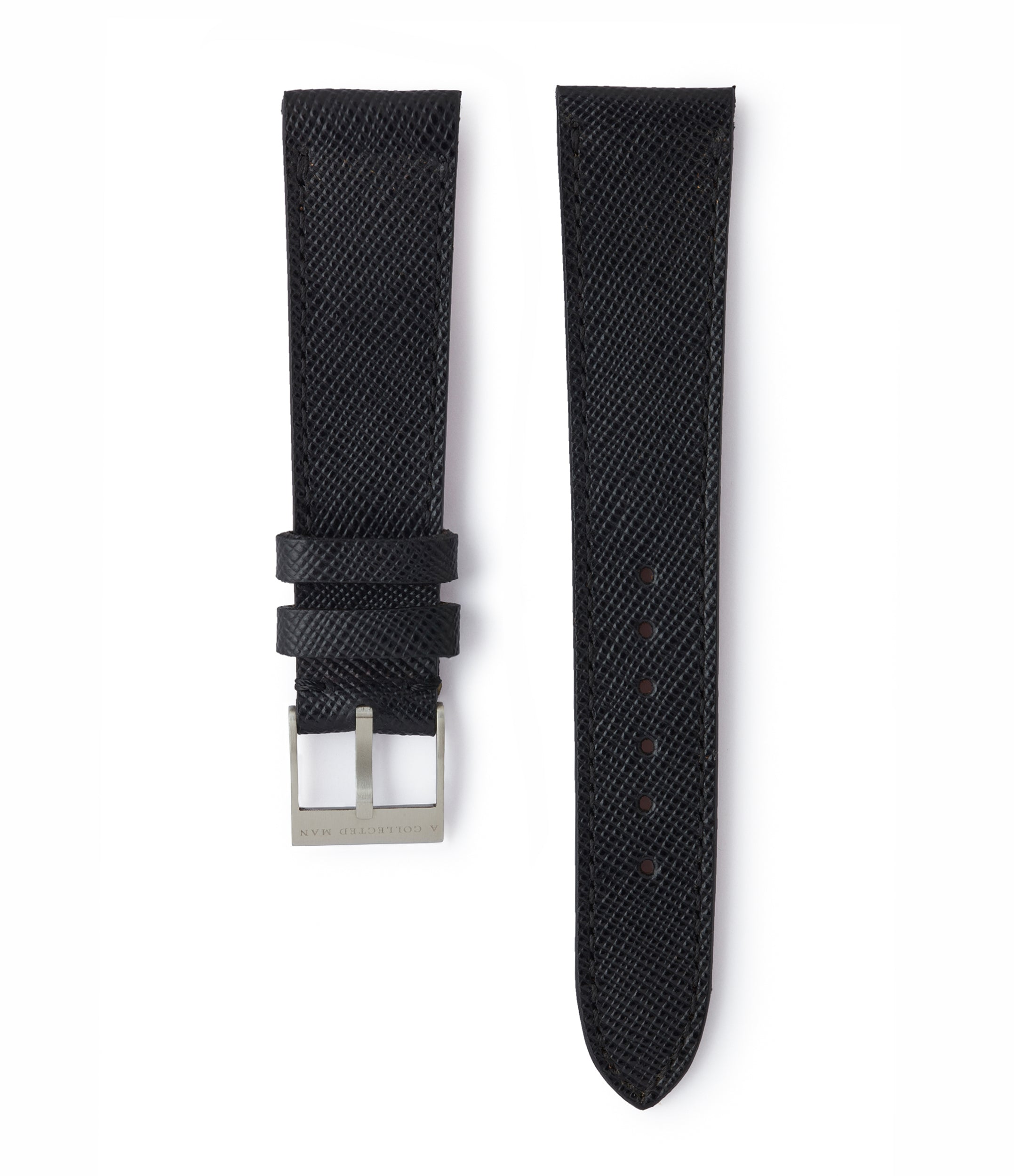 buy black saffiano leather watch strap 18mm Milano for sale order online at A Collected Man London