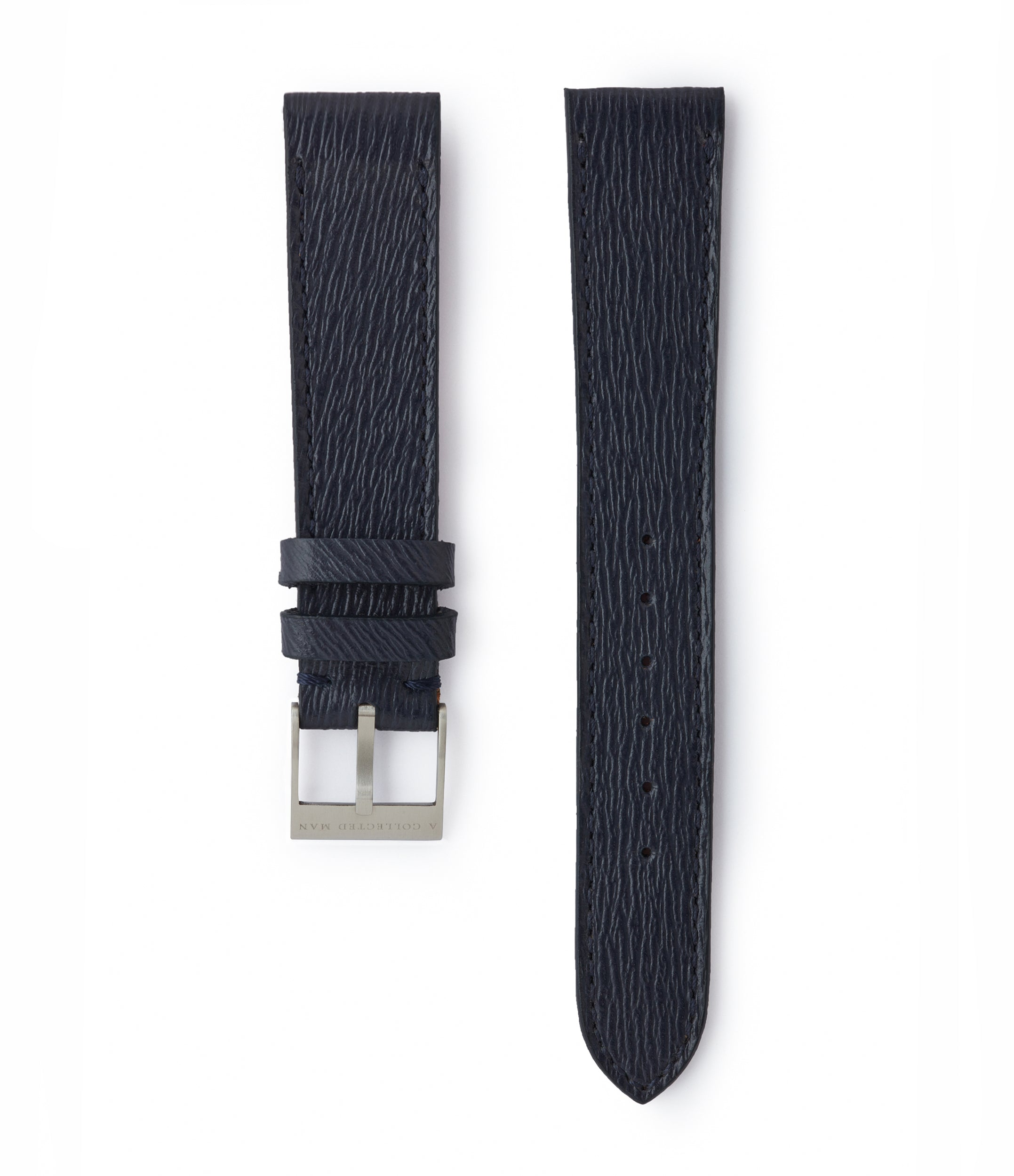 buy navy blue saffiano leather watch strap 18mm Santorini JPM for sale order online at A Collected Man London