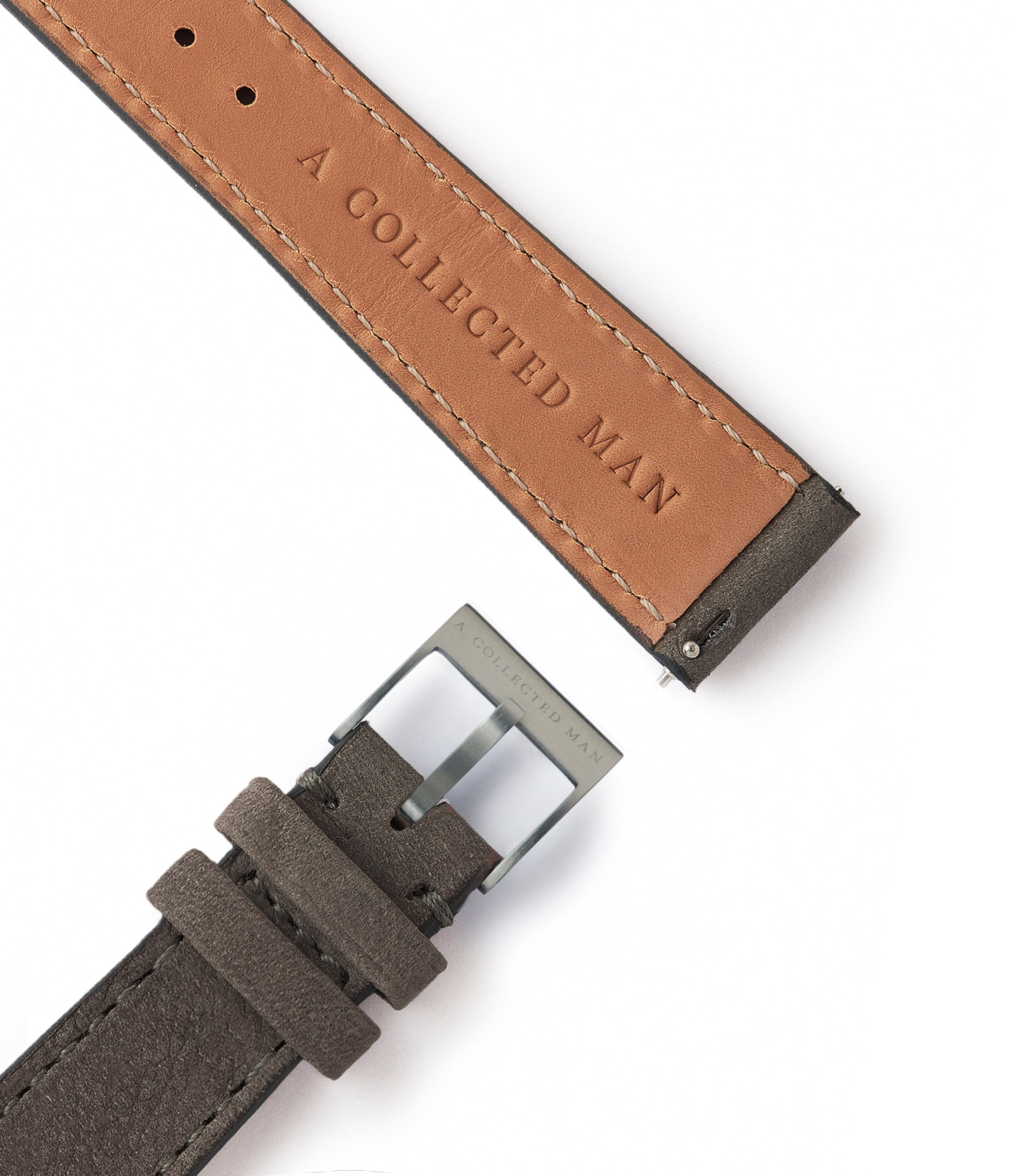 grey nubuck leather watch strap quick-release springbars Helsinki for sale order online at A Collected Man London