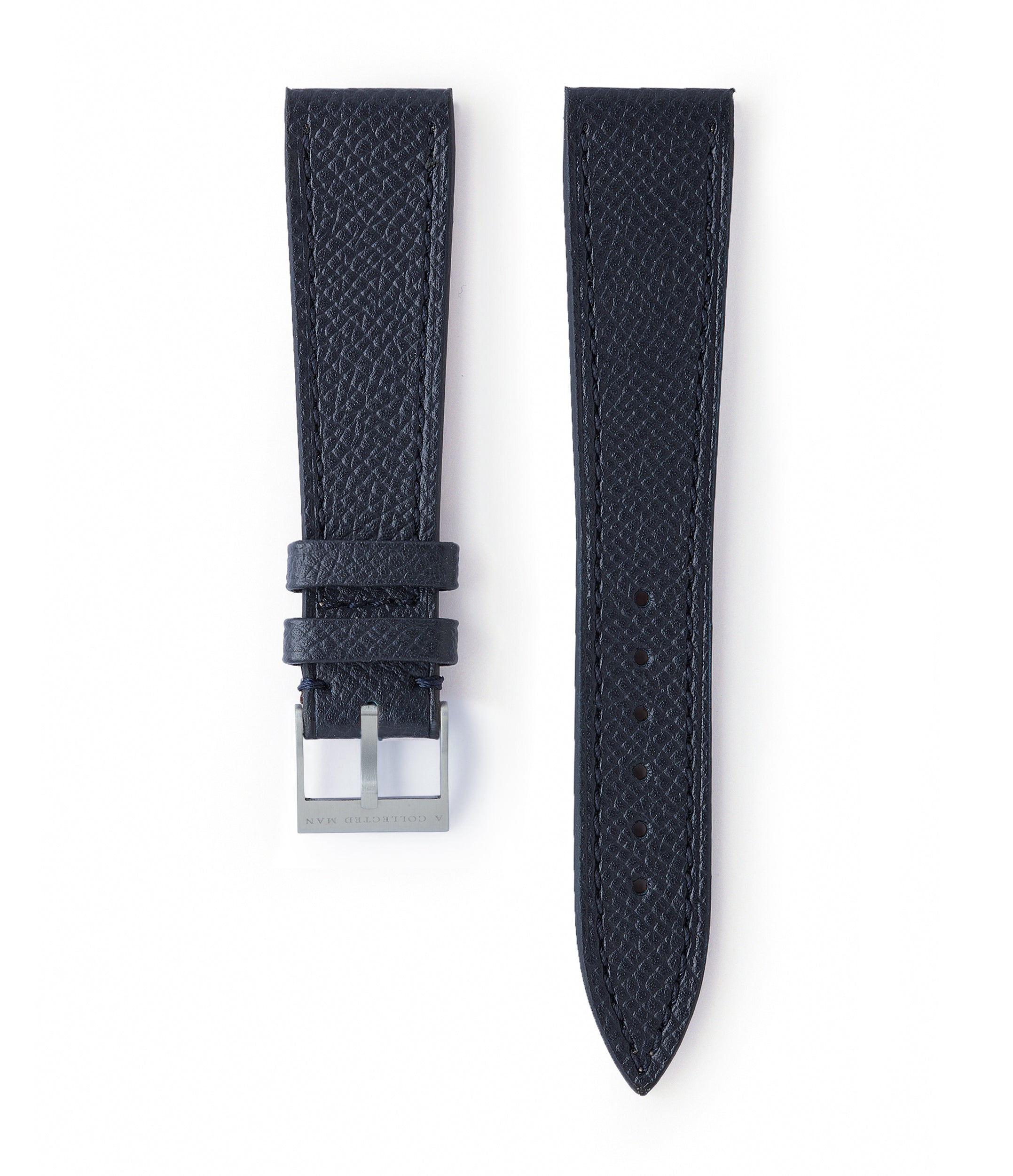 buy navy blue grained leather watch strap La Rochelle Molequin for sale order online at A Collected Man London
