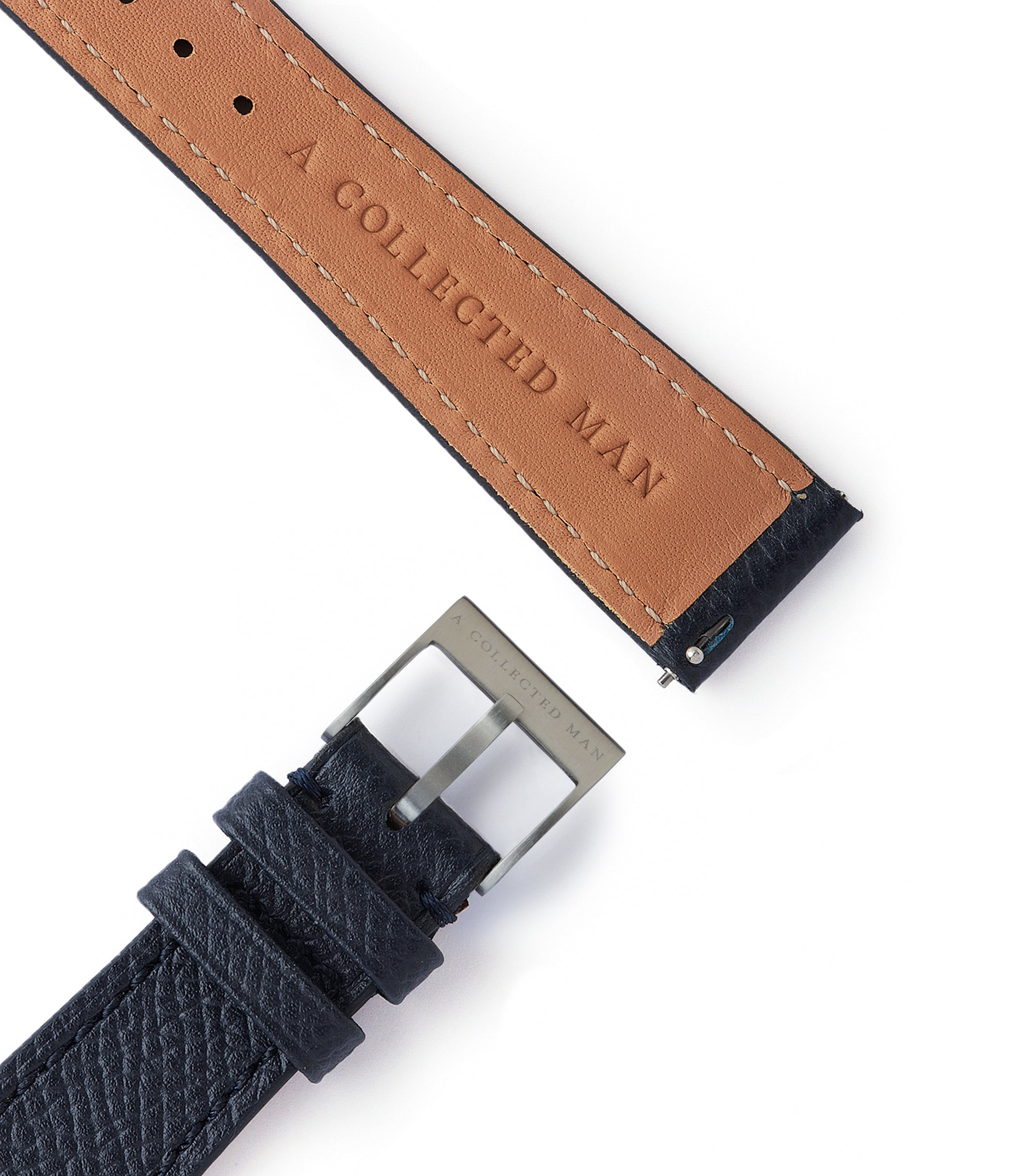 blue grained leather watch strap quick-release springbars La Rochelle Molequin for sale order online at A Collected Man London