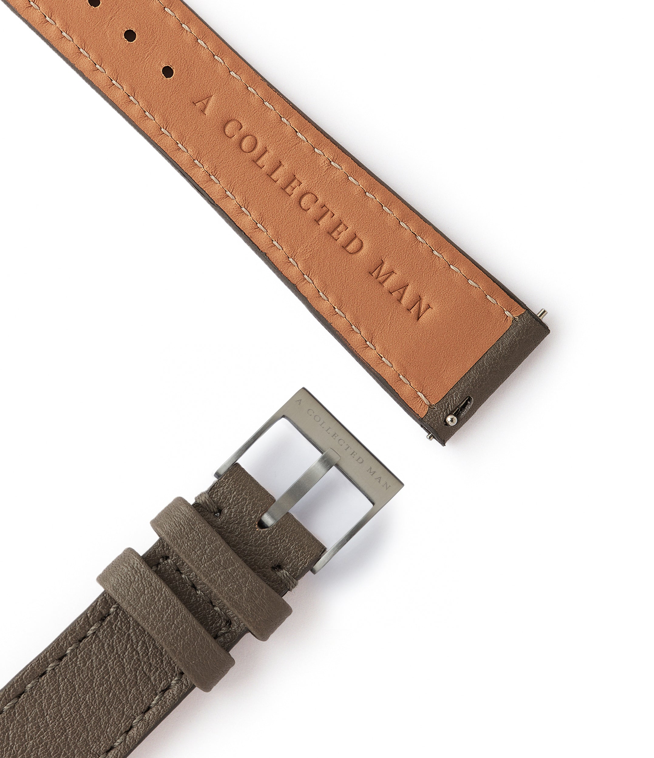 grey grained leather watch strap quick-release springbars Antwerp Molequin for sale order online at A Collected Man London