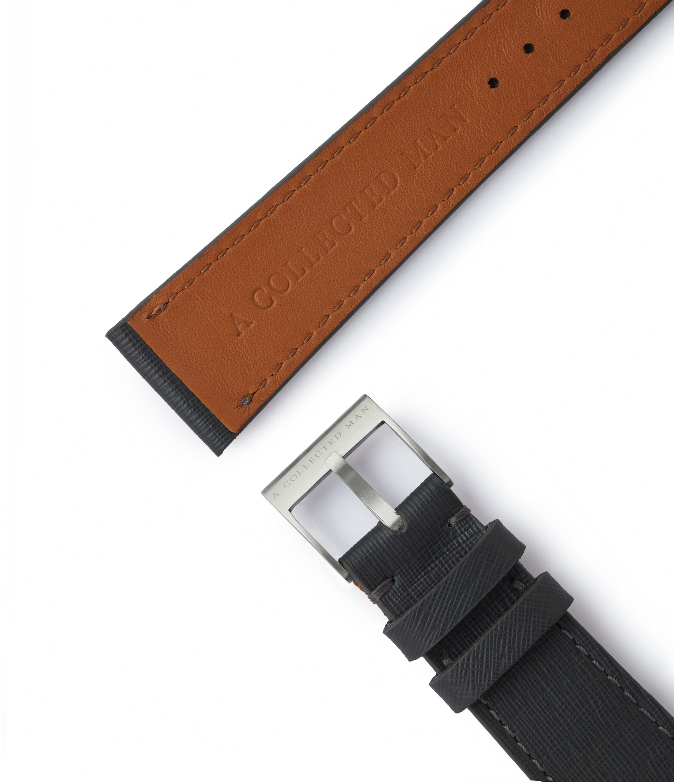 grey saffiano leather watch strap 18mm to 14mm Venice JPM for sale order online at A Collected Man London