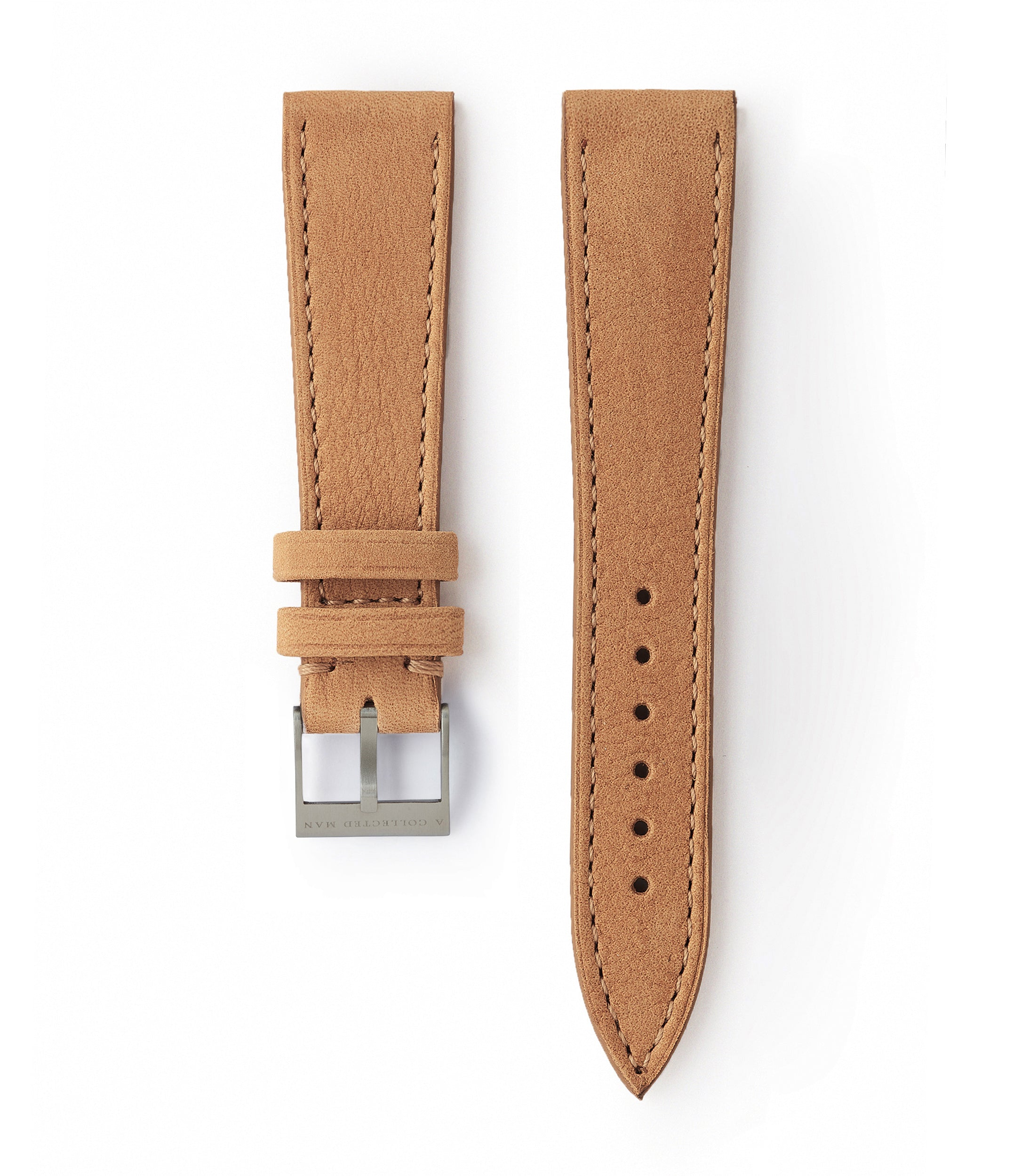 buy light tan nubuck leather watch strap Carcassonne Molequin for sale order online at A Collected Man London