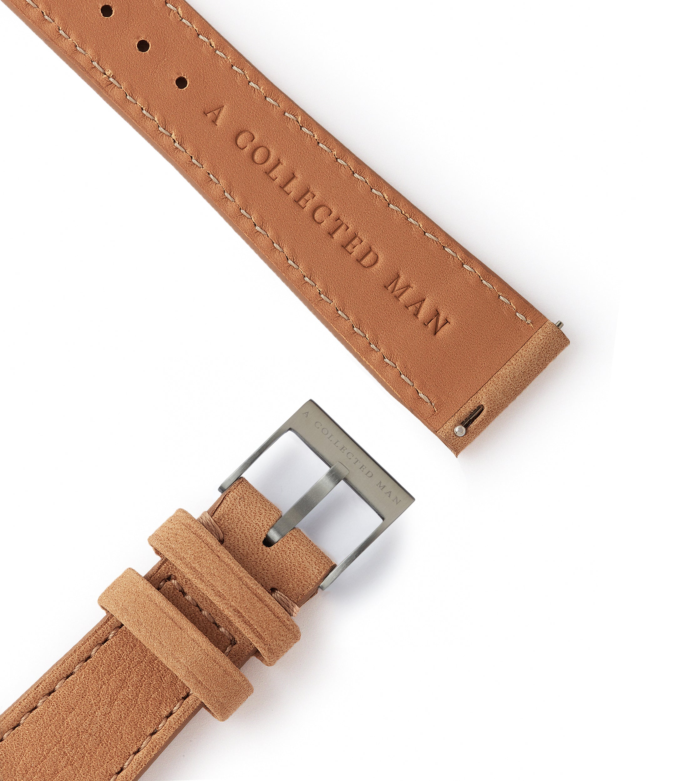 light tan leather nubuck watch strap quick-release springbars Carcassonne Molequin for sale order online at A Collected Man London