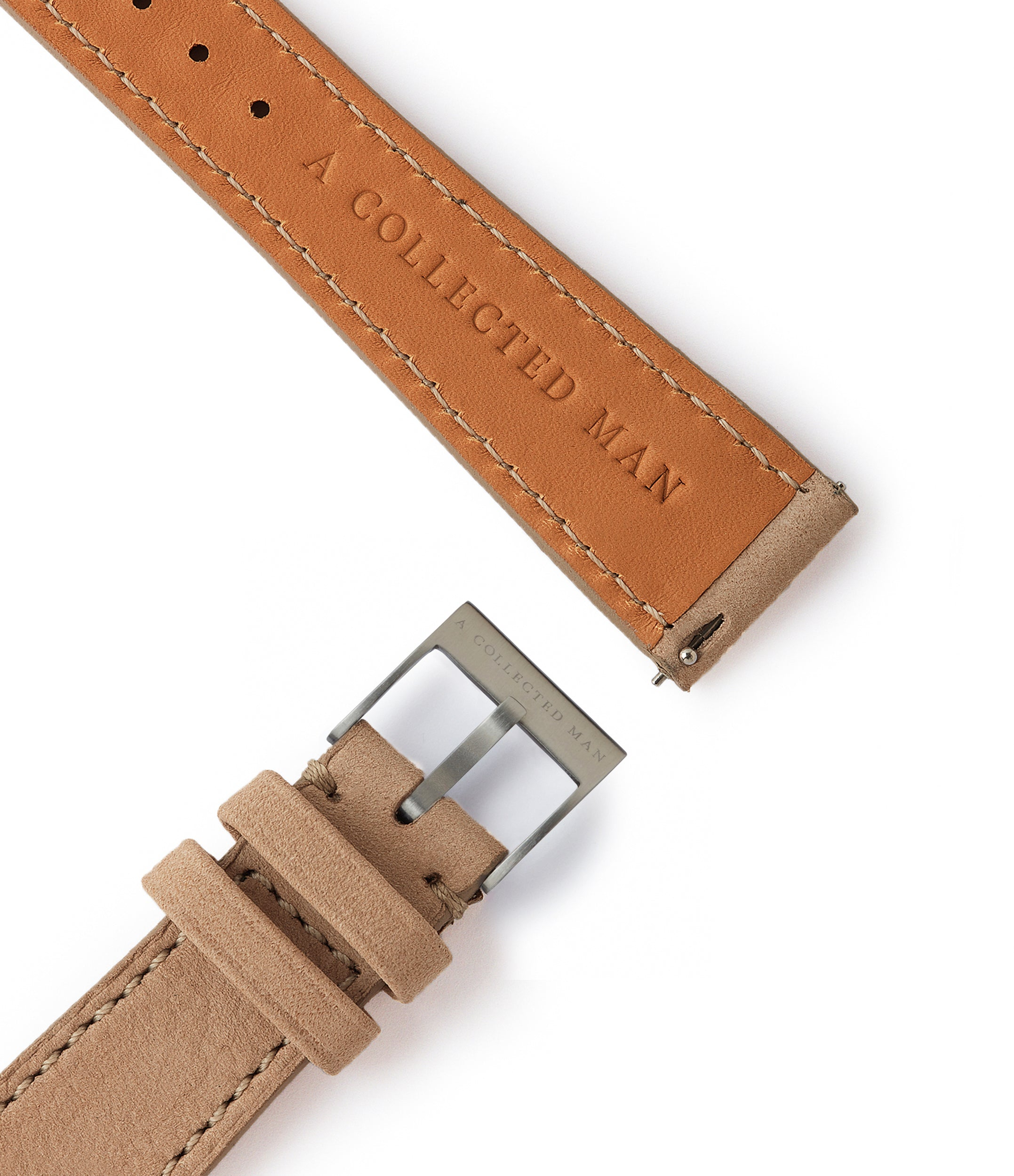 light nude neutral leather nubuck watch strap quick-release springbars Istanbul Molequin for sale order online at A Collected Man London