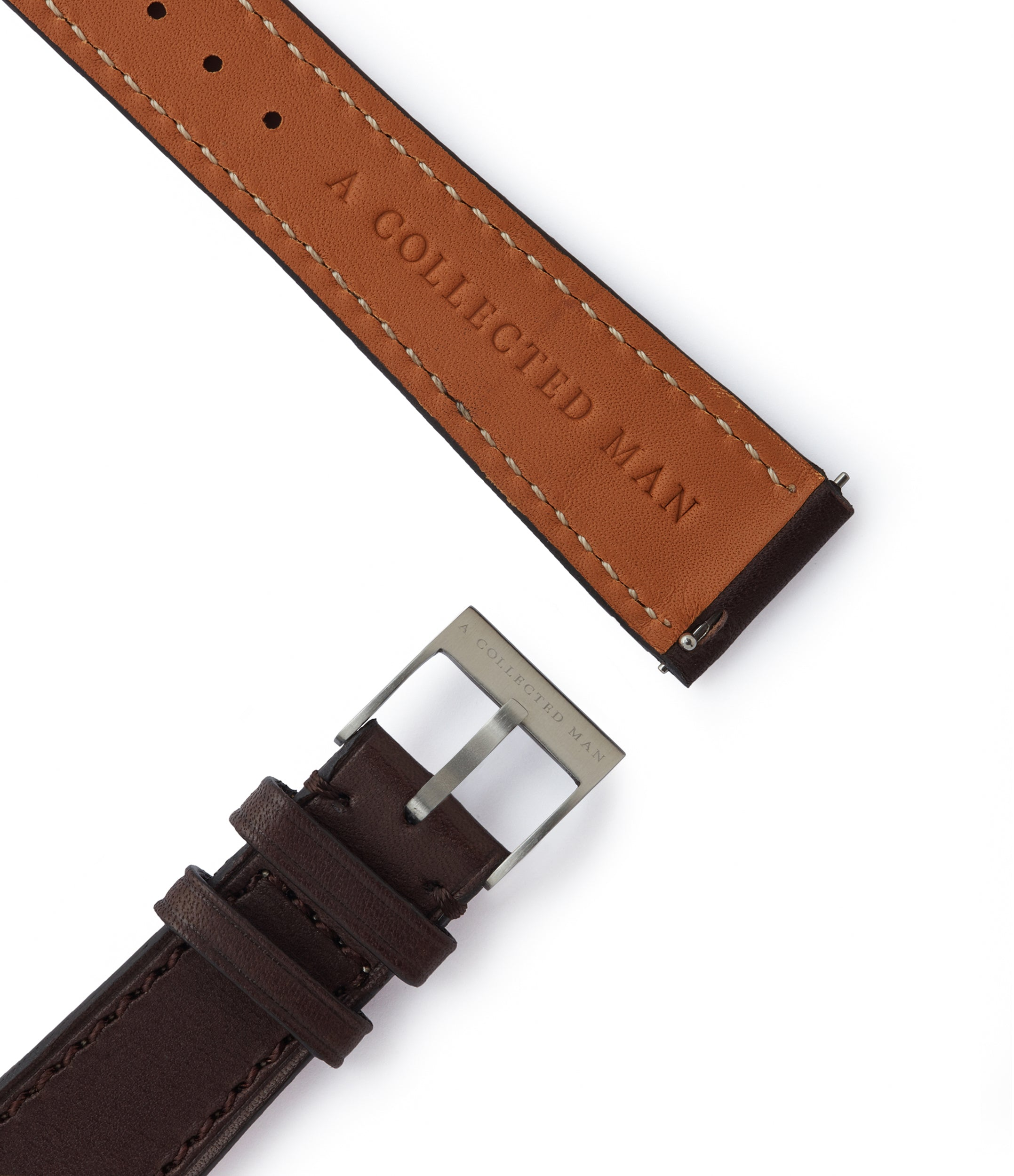 dark brown smooth calfskin leather Prague watch strap 19mm for sale A Collected Man London British specialist leather watch straps