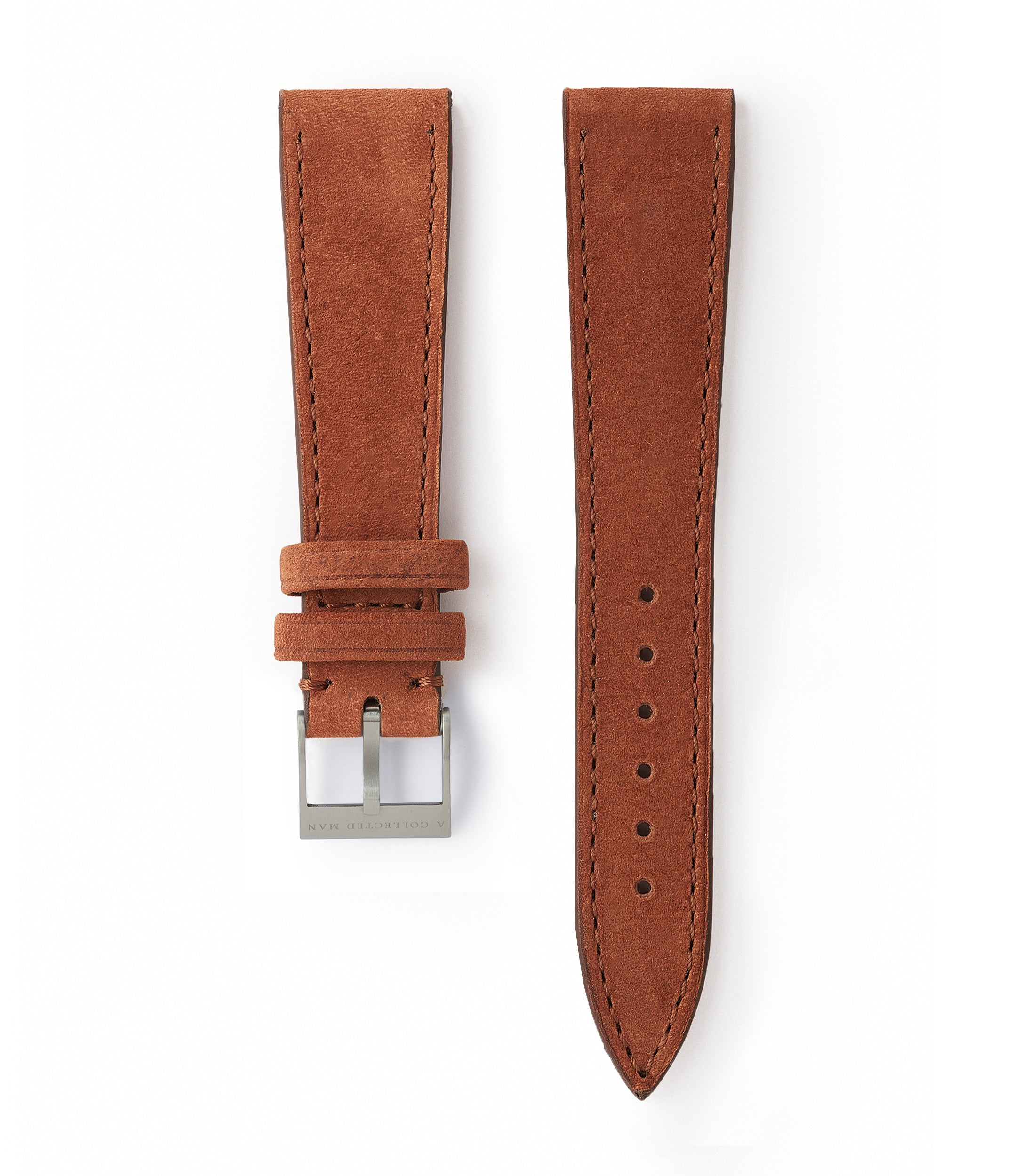 buy rust brown nubuck leather watch strap Bordeaux Molequin for sale order online at A Collected Man London