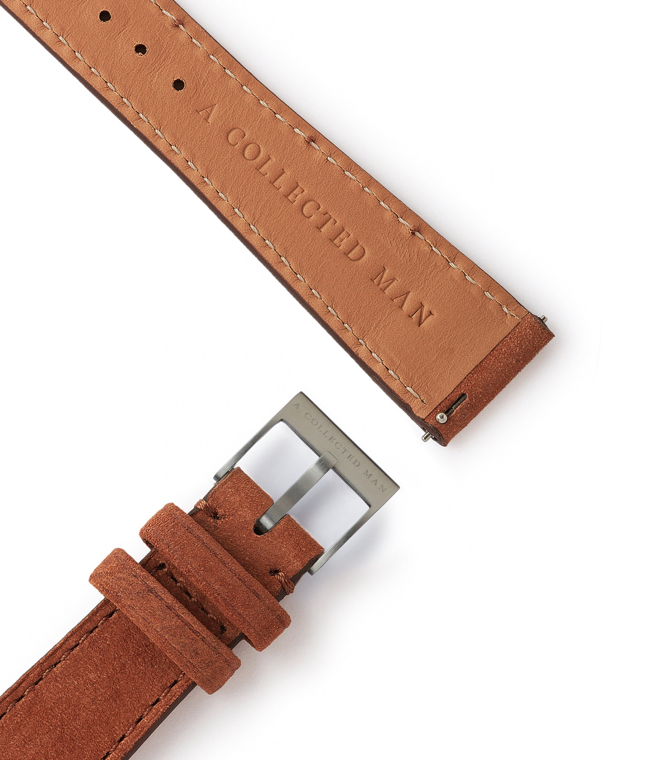 rich brown leather nubuck watch strap quick-release springbars Bordeaux Molequin for sale order online at A Collected Man London