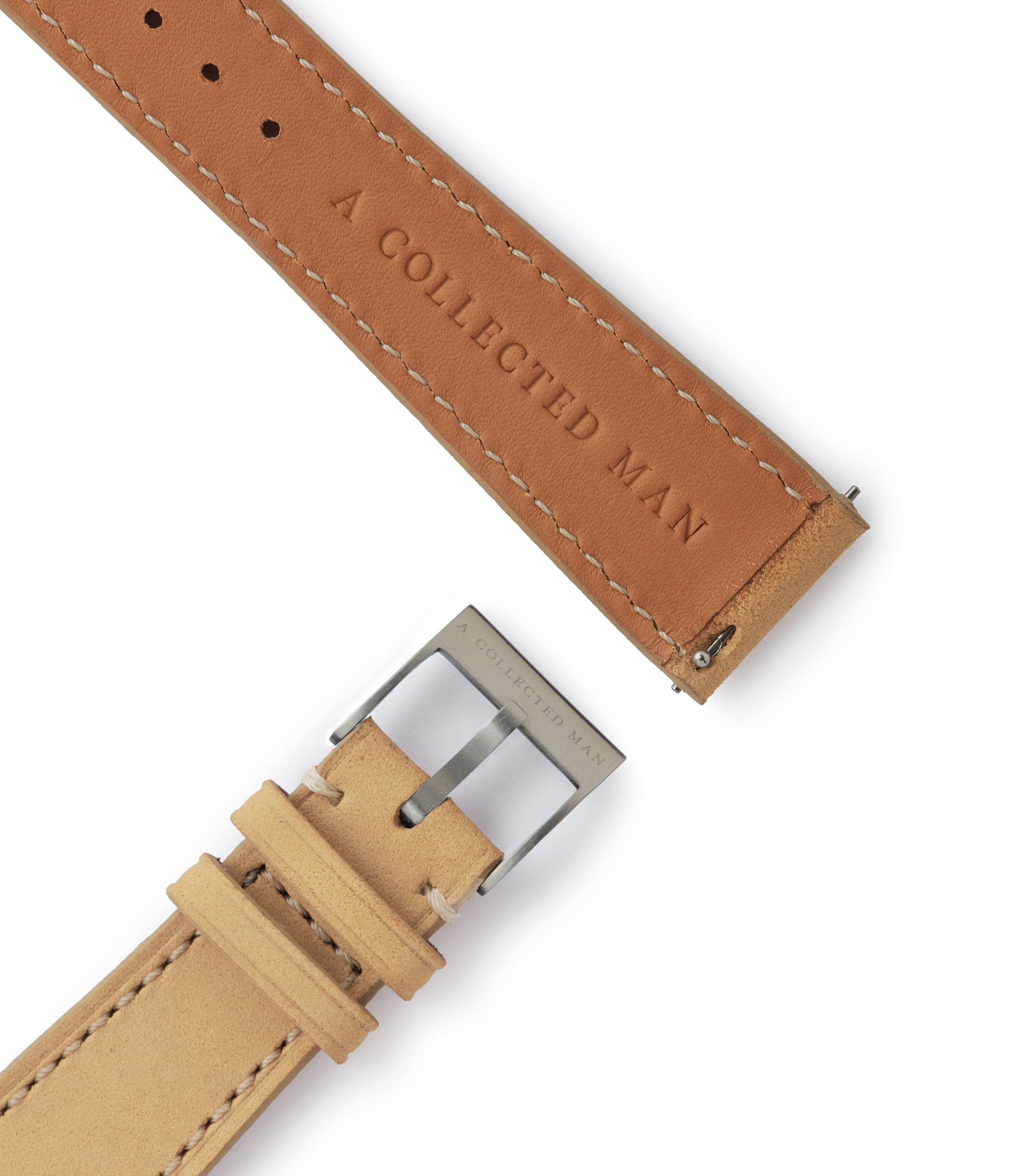 light brown leather nubuck watch strap quick-release springbars Capri Molequin for sale order online at A Collected Man London