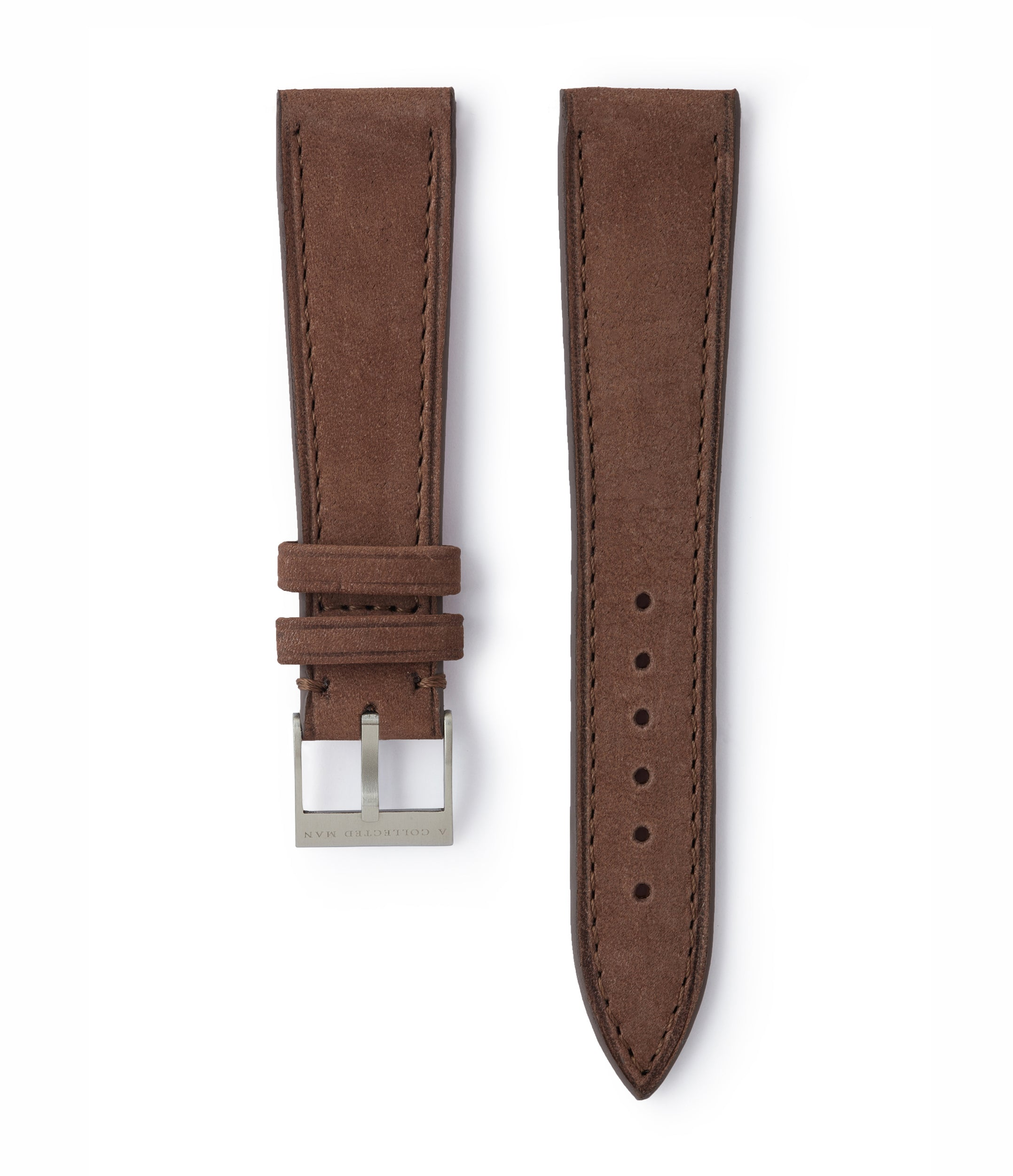 buy taupe brown nubuck leather watch strap Geneva Molequin for sale order online at A Collected Man London