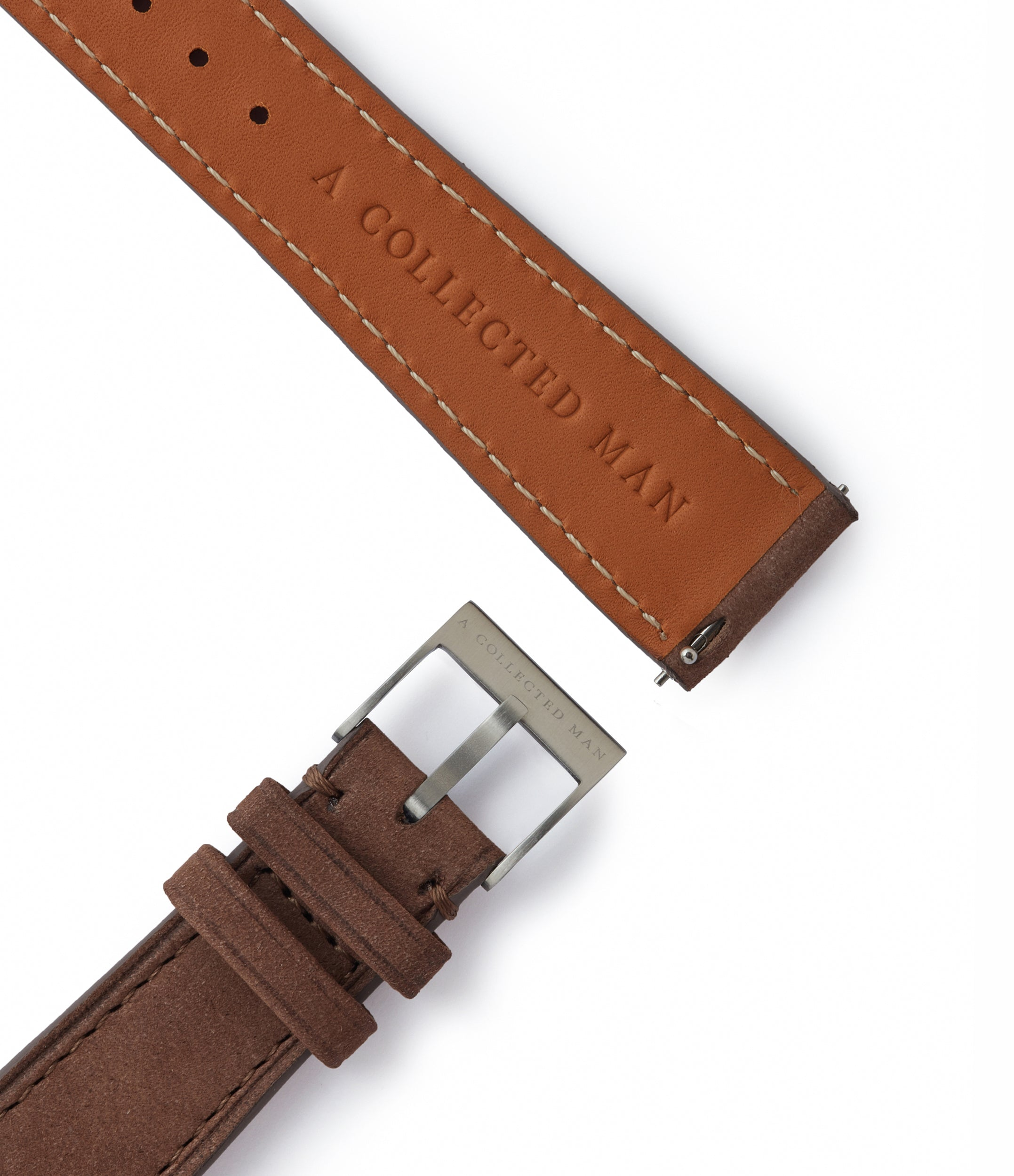 smoke brown leather nubuck watch strap quick-release springbars Geneva Molequin for sale order online at A Collected Man London