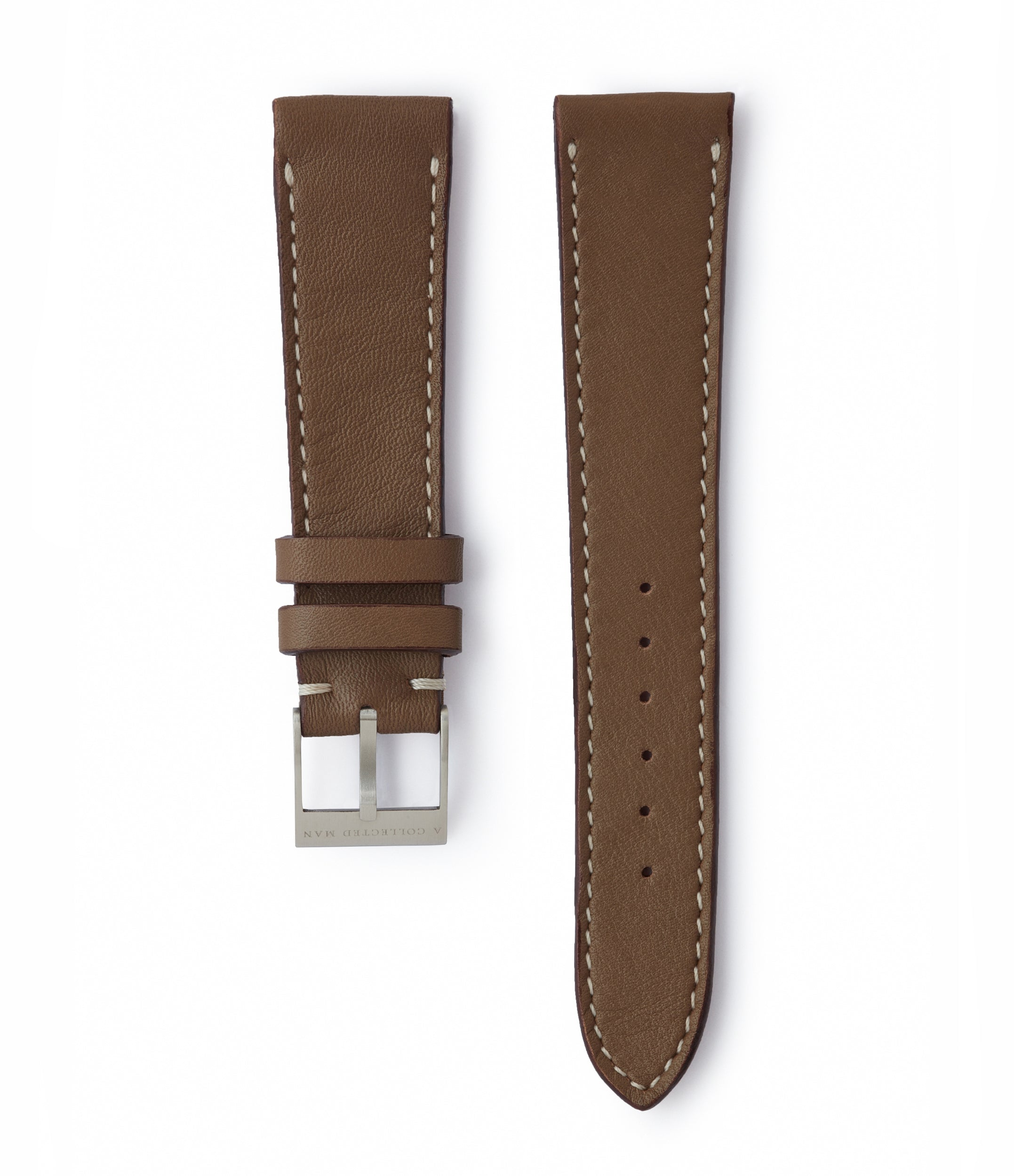 buy taupe soft smooth leather watch strap Vienna JPM 20mm for sale online at A Collected Man London