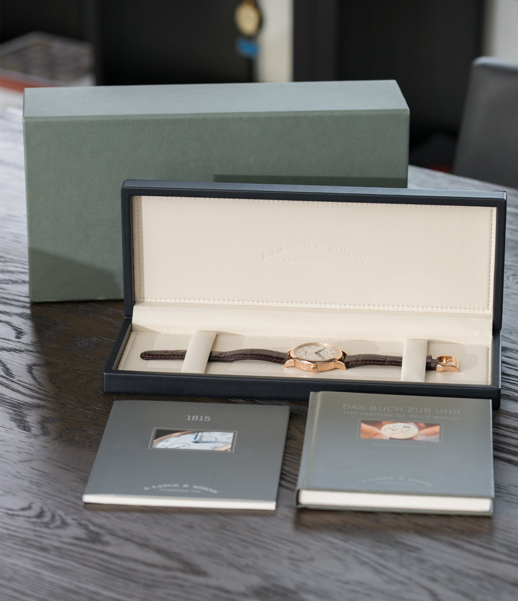 full set A. Lange & Sohne 1815 233.032 rose gold pre-owned dress watch for sale online at A Collected Man London Uk specialist of preowned luxury watches