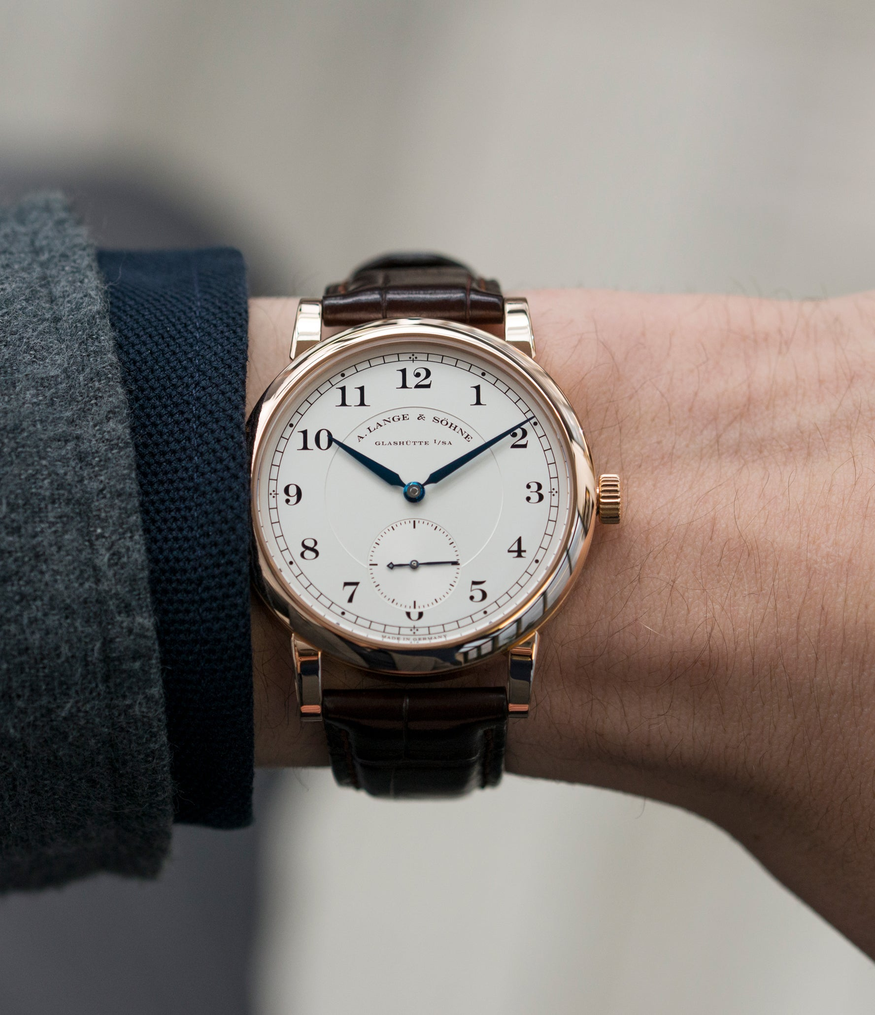 on the wrist A. Lange & Sohne 1815 233.032 rose gold pre-owned dress watch for sale online at A Collected Man London Uk specialist of preowned luxury watches