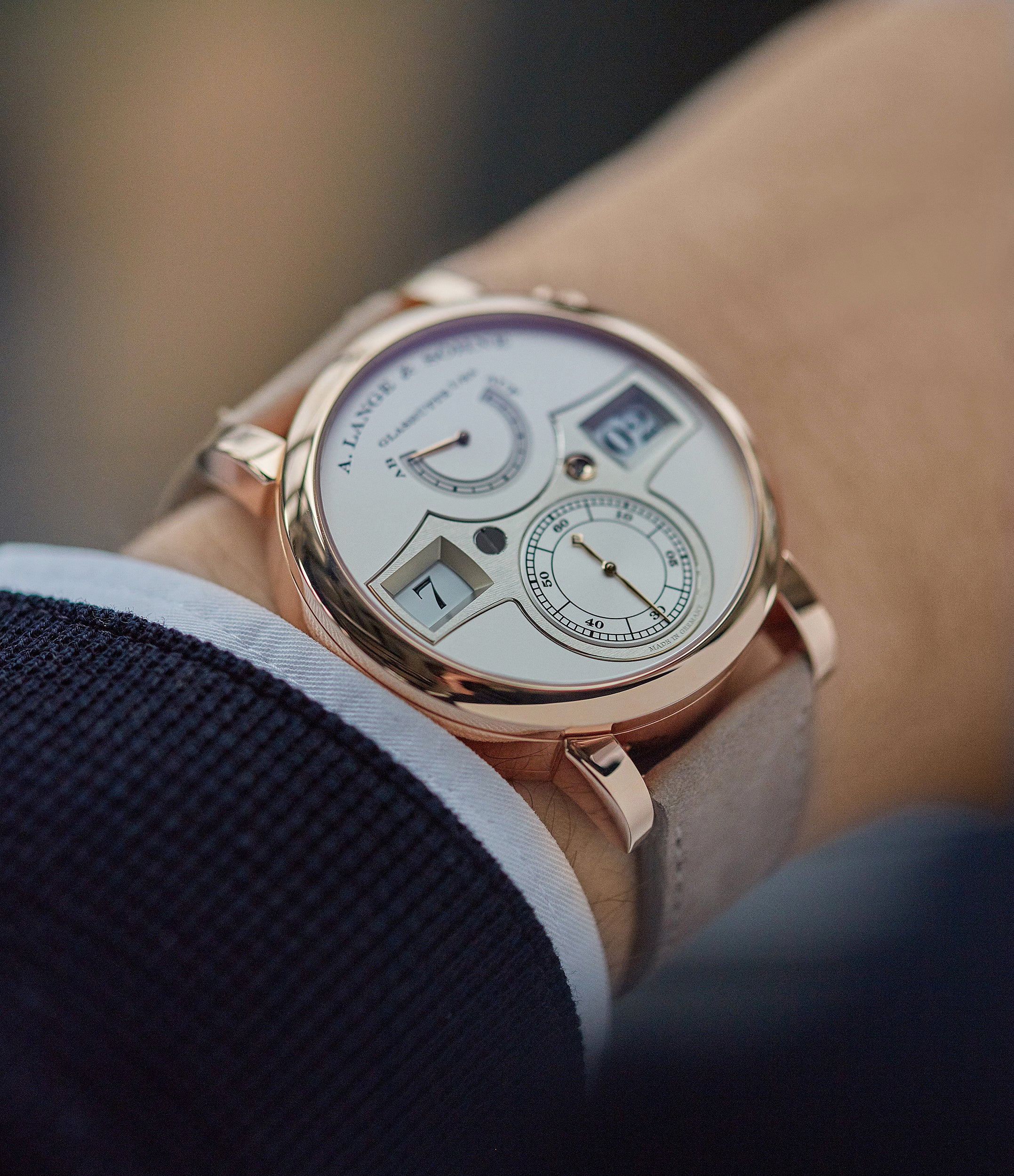 A. Lange & Söhne Zeitwerk  140.032 rose gold panorama date dress watch for sale online at A Collected Man London home of rare watches
