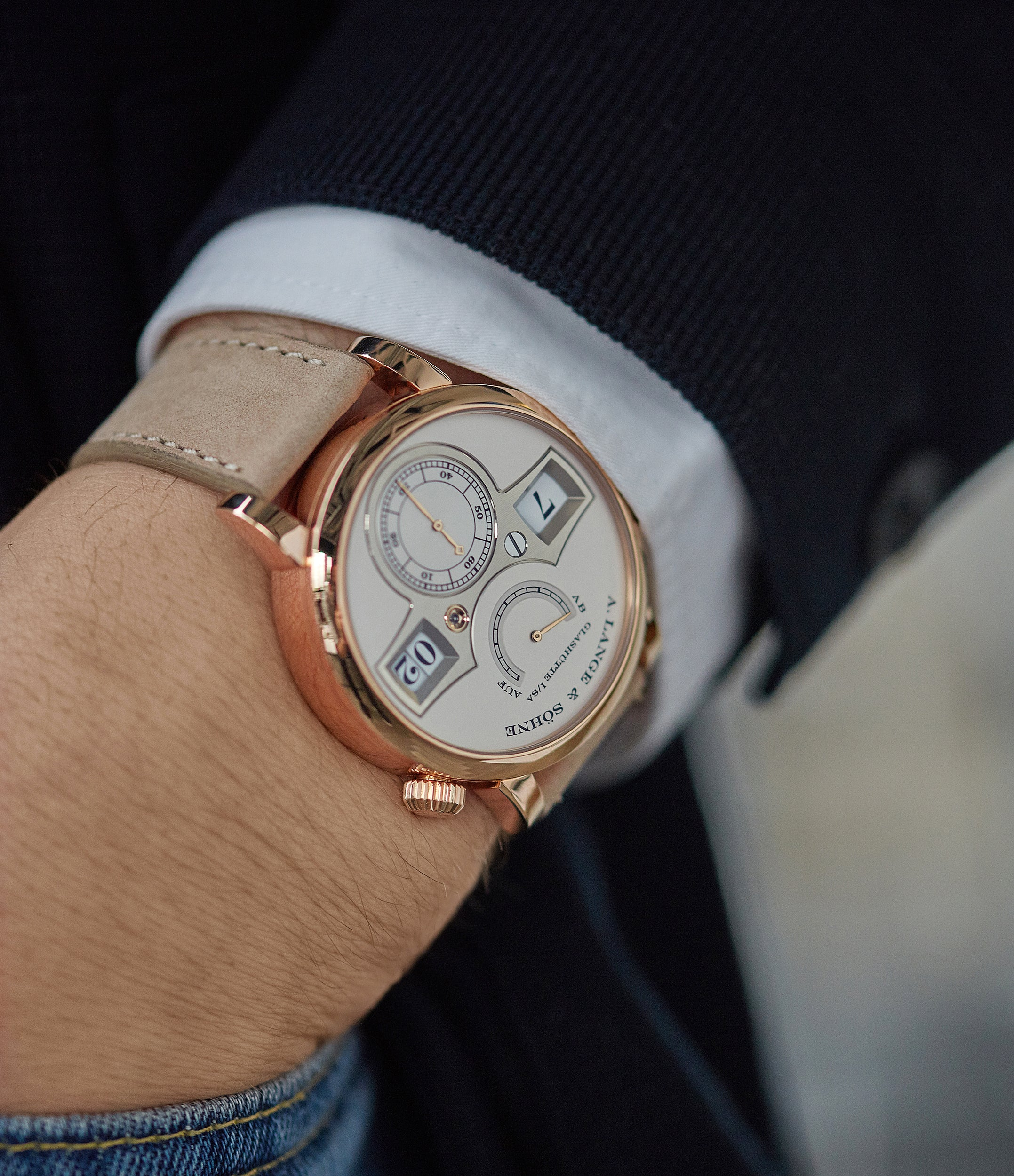 on the wrist A. Lange & Söhne Zeitwerk 140.032 rose gold panorama date dress watch for sale online at A Collected Man London home of rare watches