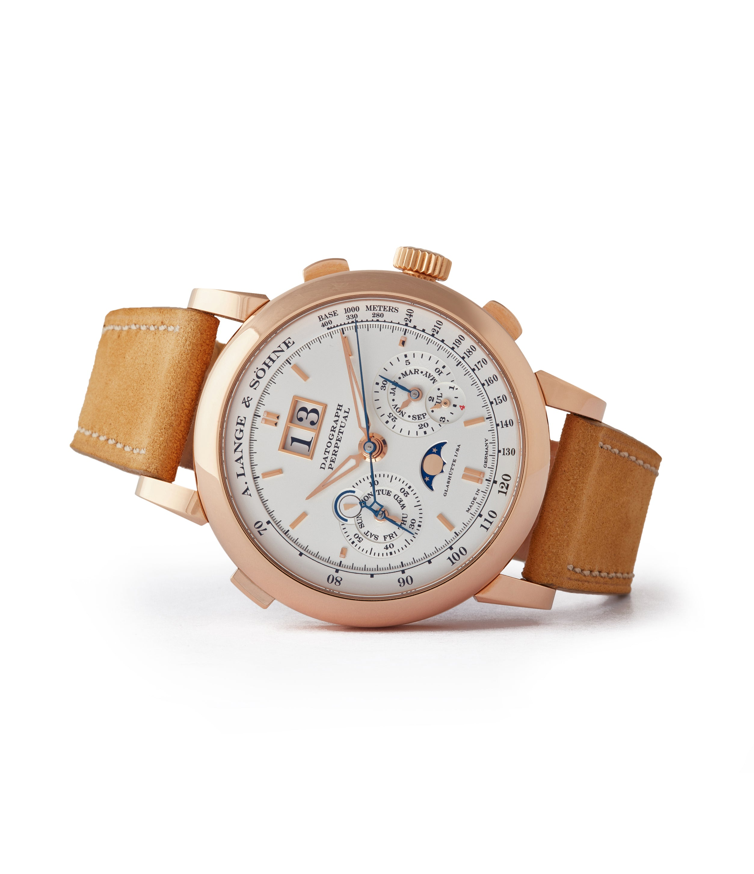 side-shot men's luxury dress watch A. Lange&Sohne Datograph Perpetual Calendar 410.032 pink gold pre-owned dress watch for sale online at A Collected Man London seller rare watches