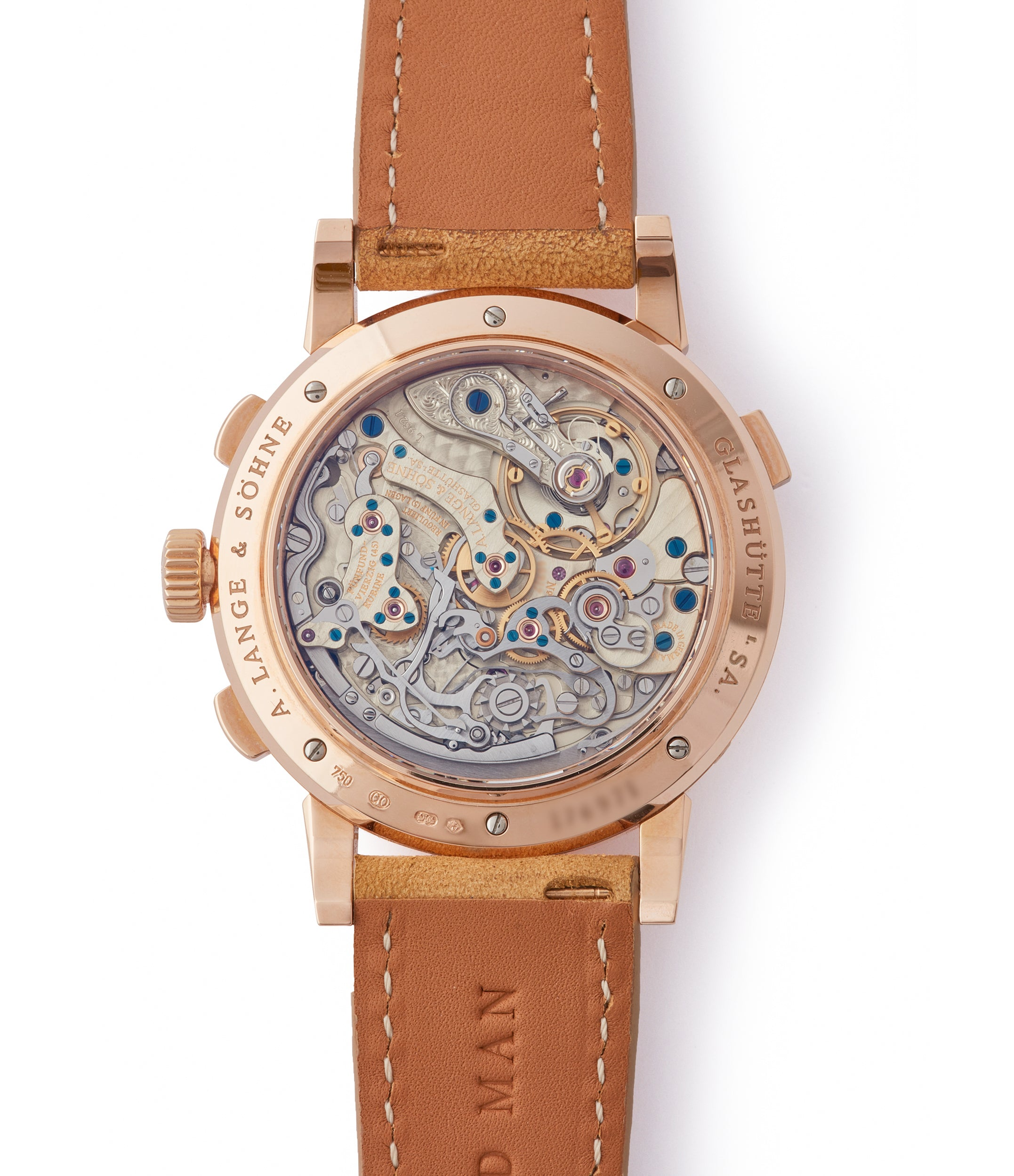 manual-winding German-made A. Lange & Sohne Datograph  Perpetual Calendar 410.032 pink gold pre-owned dress watch for sale online at A Collected Man London seller rare watches