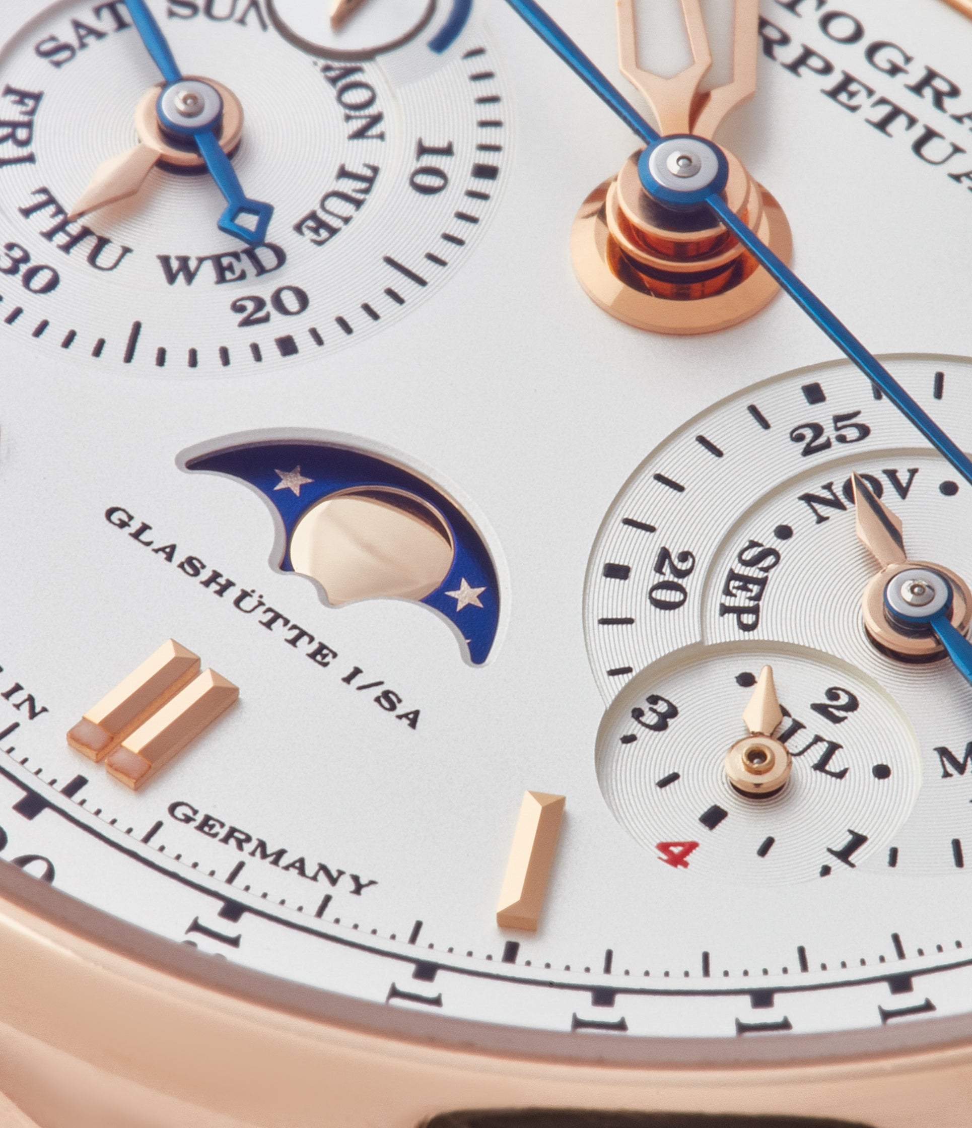 moonphase perpetual calendar A. Lange & Sohne Datograph 410.032 pink gold pre-owned dress watch for sale online at A Collected Man London seller rare watches