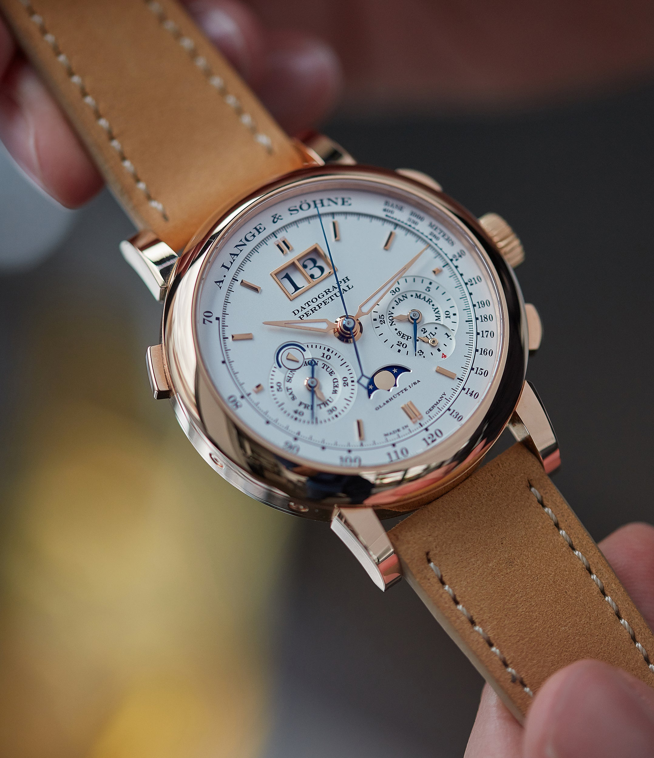 Datograph Lange & Sohne Perpetual Calendar 410.032 pink gold pre-owned dress watch for sale online at A Collected Man London seller rare watches