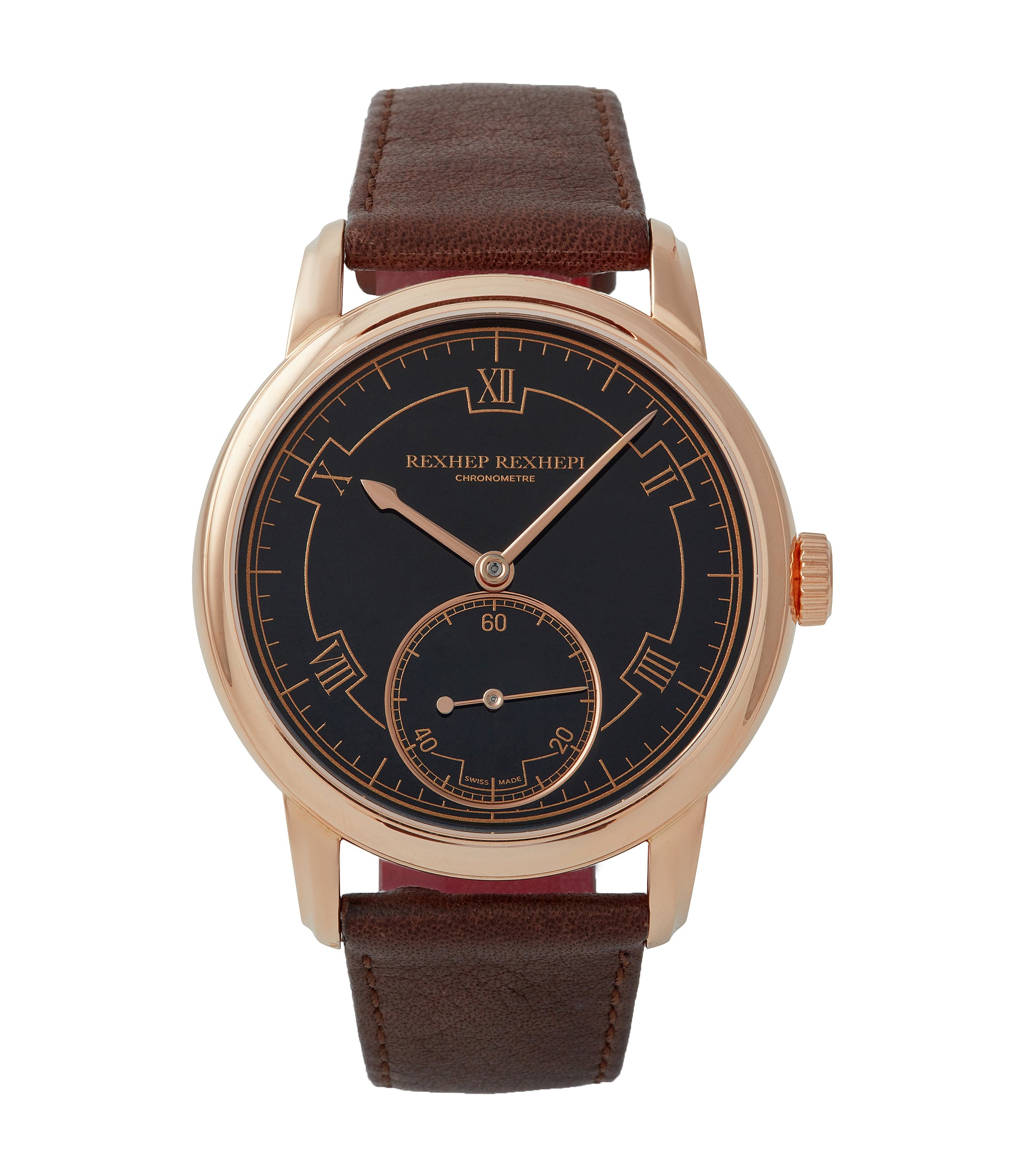 buying online AkriviA Rexhep Rexhepi Chronometre Contemporain rose gold black Grand Feu enamel sector dial time-only dress watch A Collected Man London