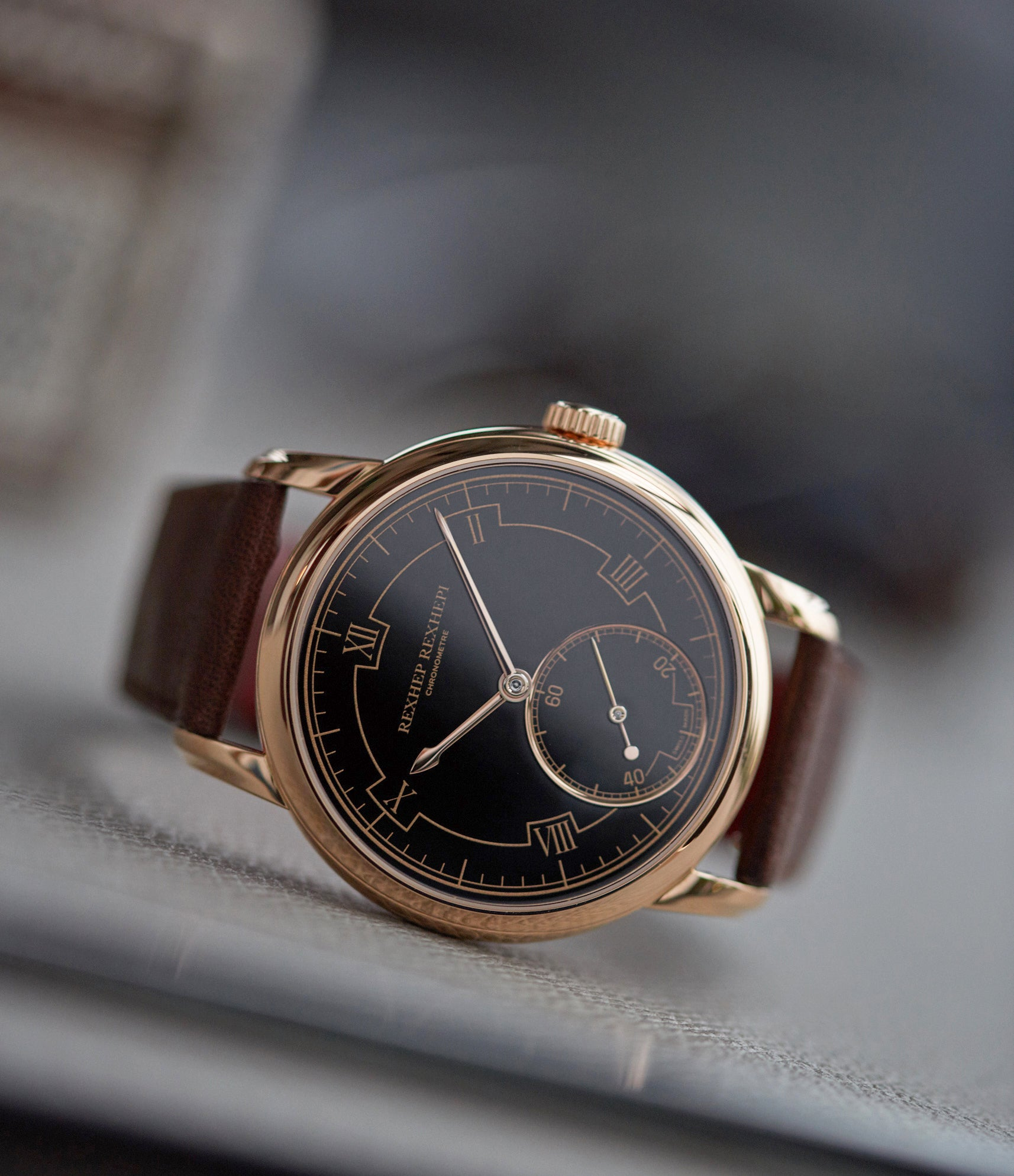 rare AkriviA Rexhep Rexhepi Chronometre Contemporain rose gold black Grand Feu enamel sector dial time-only dress watch A Collected Man London